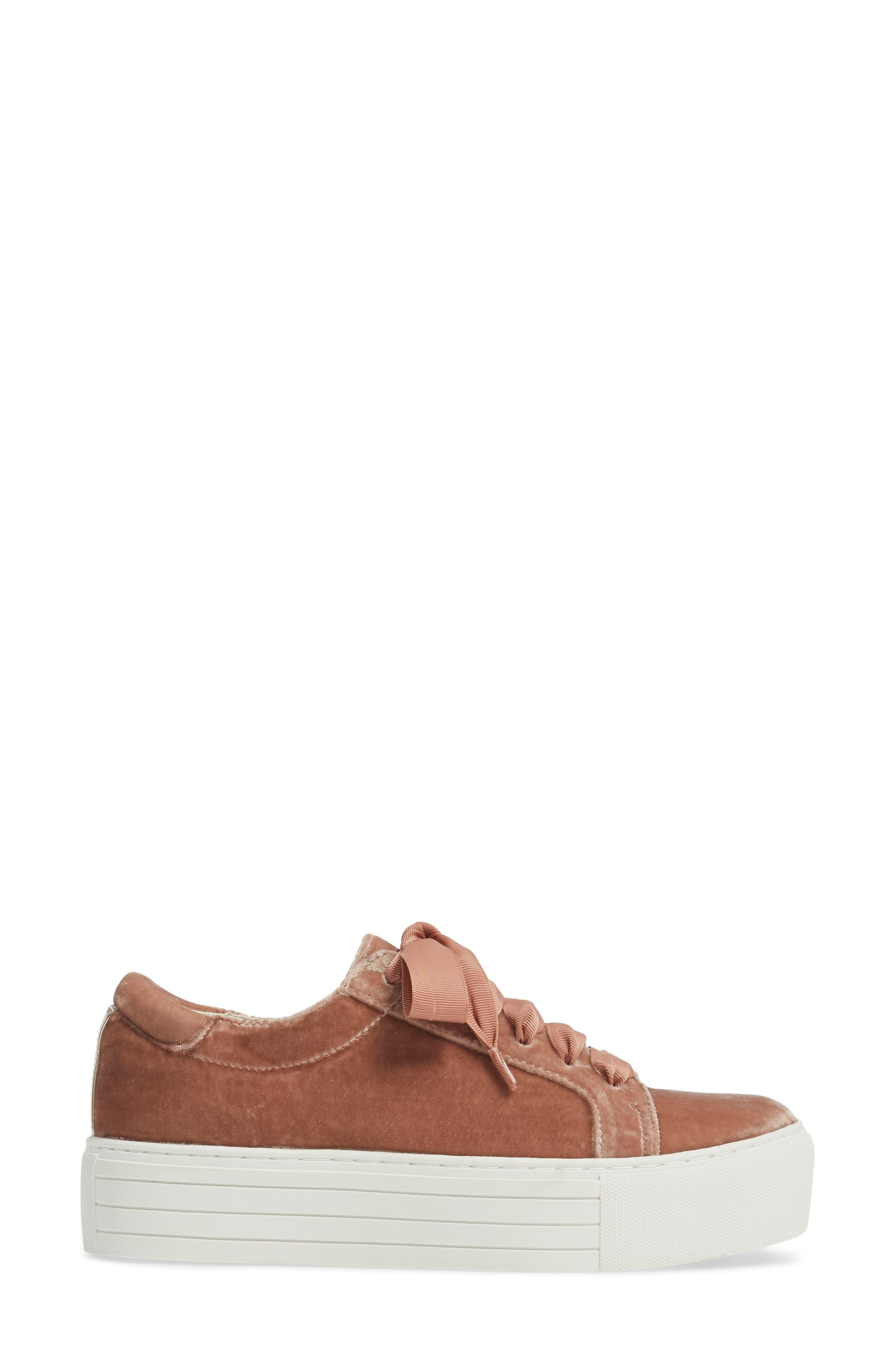 Abbey Platform Sneaker,                             Alternate thumbnail 3, color,                             Blush Velvet