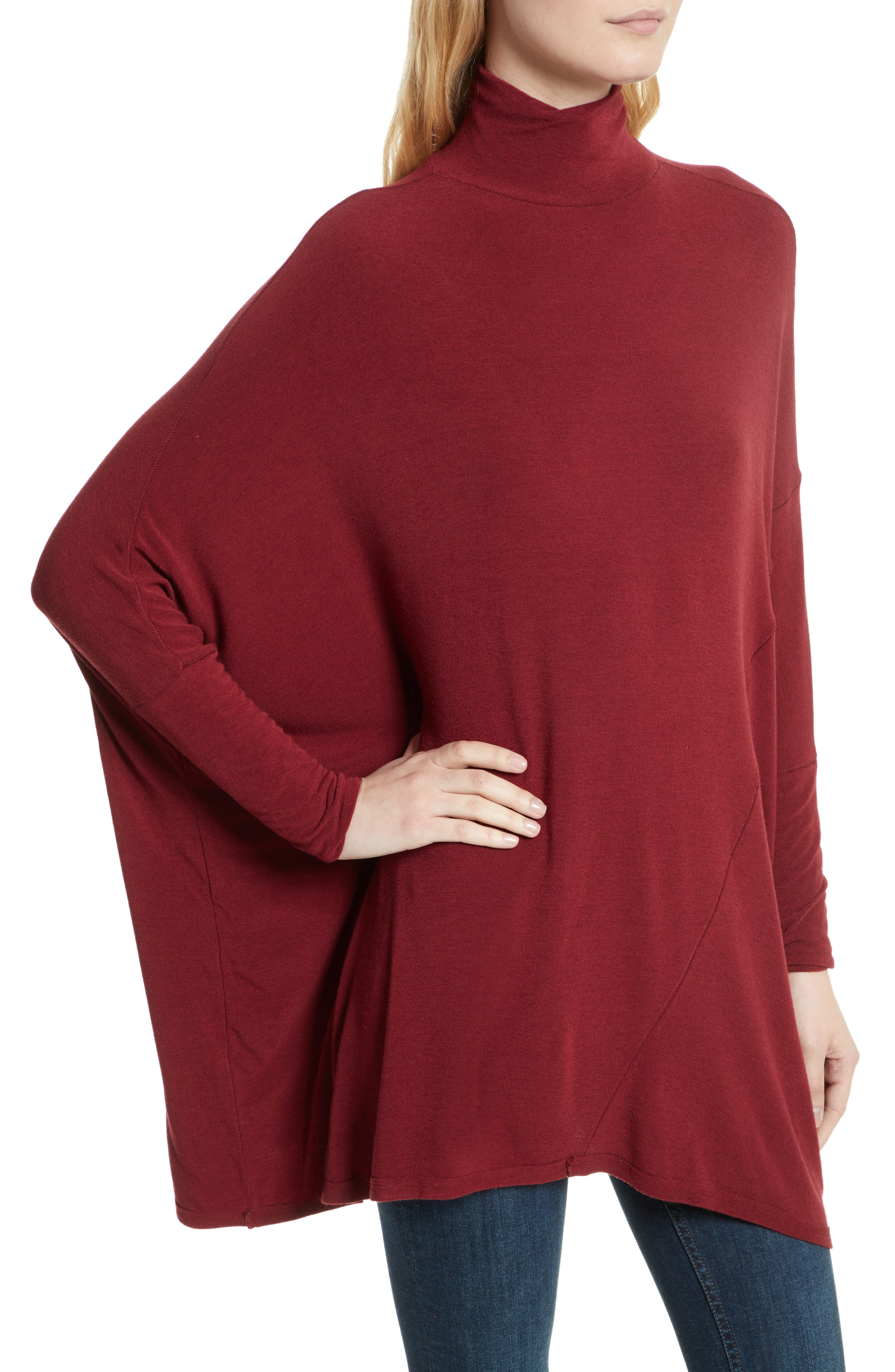 We the Free Terry Turtleneck,                             Alternate thumbnail 4, color,                             Wine