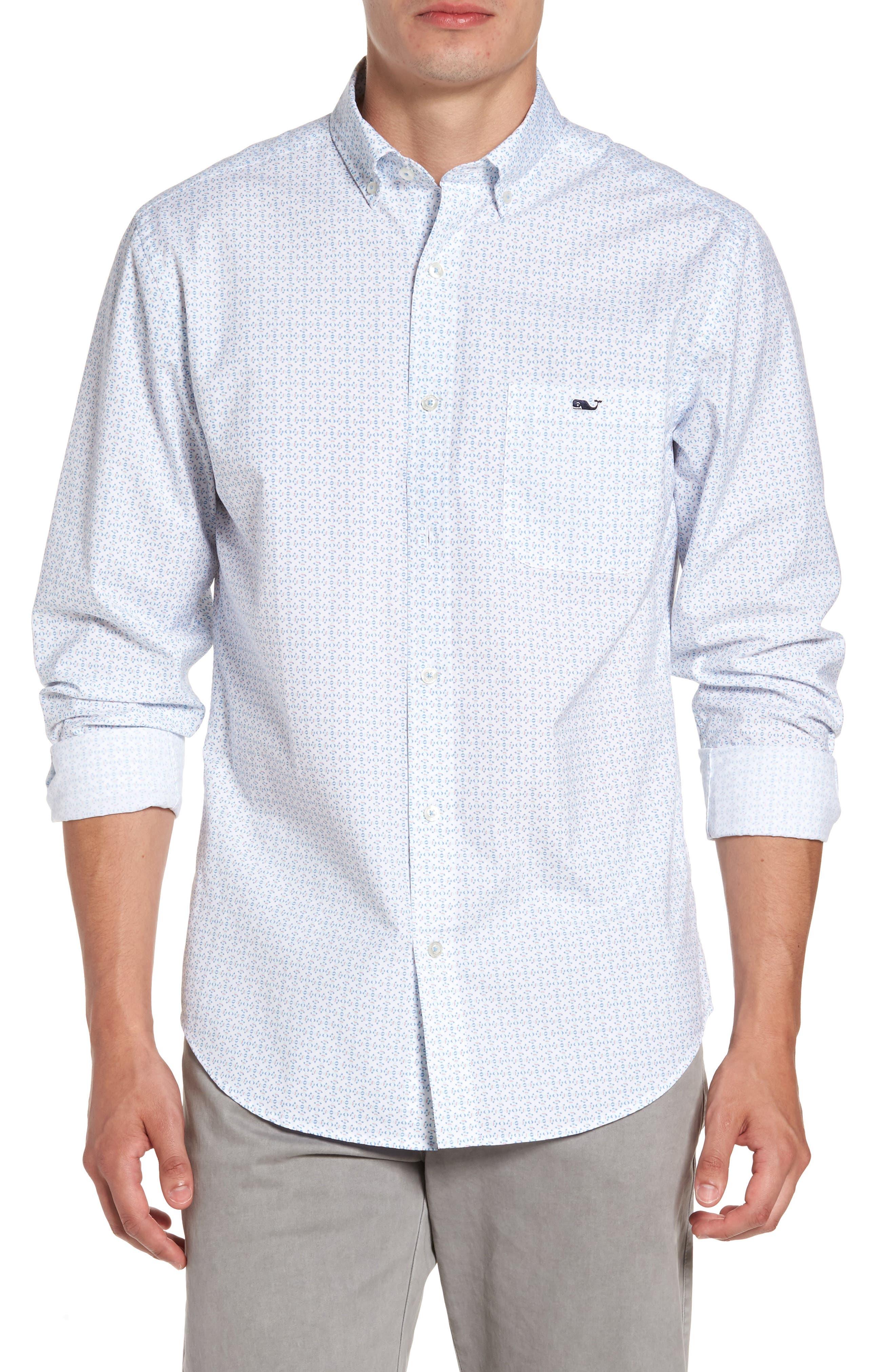 Main Image - vineyard vines Fish Check Tucker Slim Fit Sport Shirt