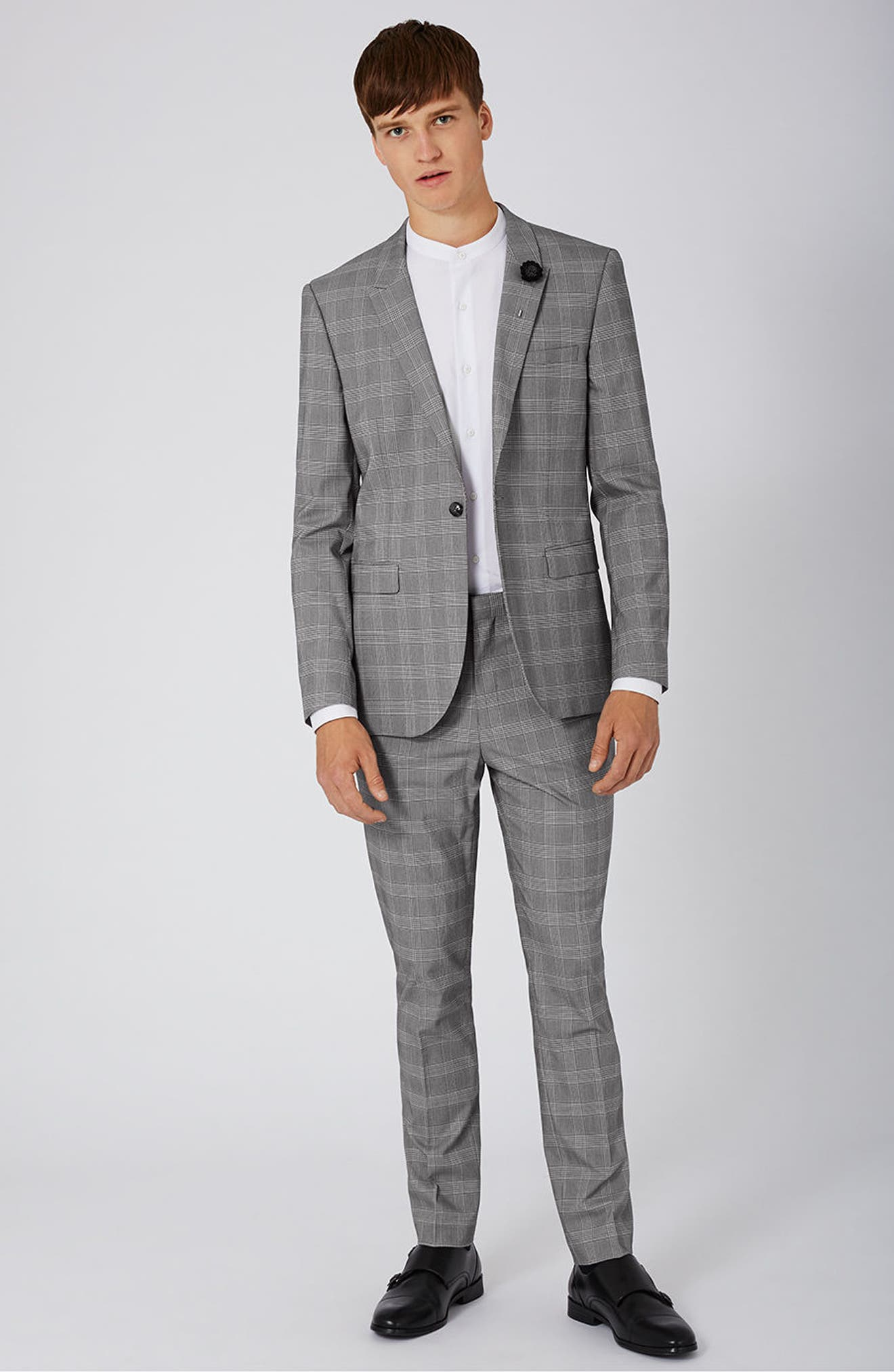 Skinny Fit Check Suit Jacket,                             Alternate thumbnail 2, color,                             Black