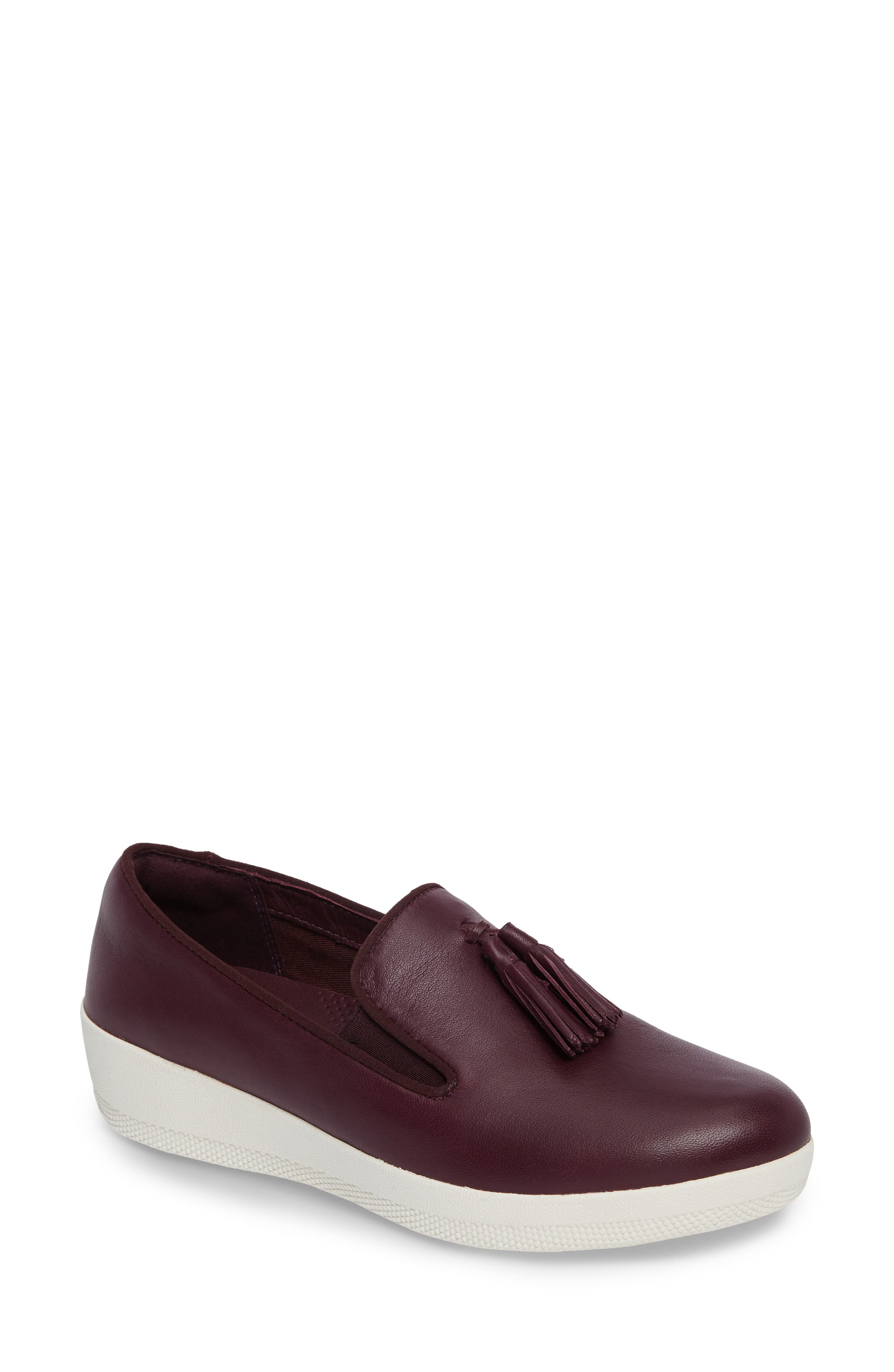 Tassle Superskate Wedge Sneaker,                             Main thumbnail 1, color,                             Deep Plum Leather