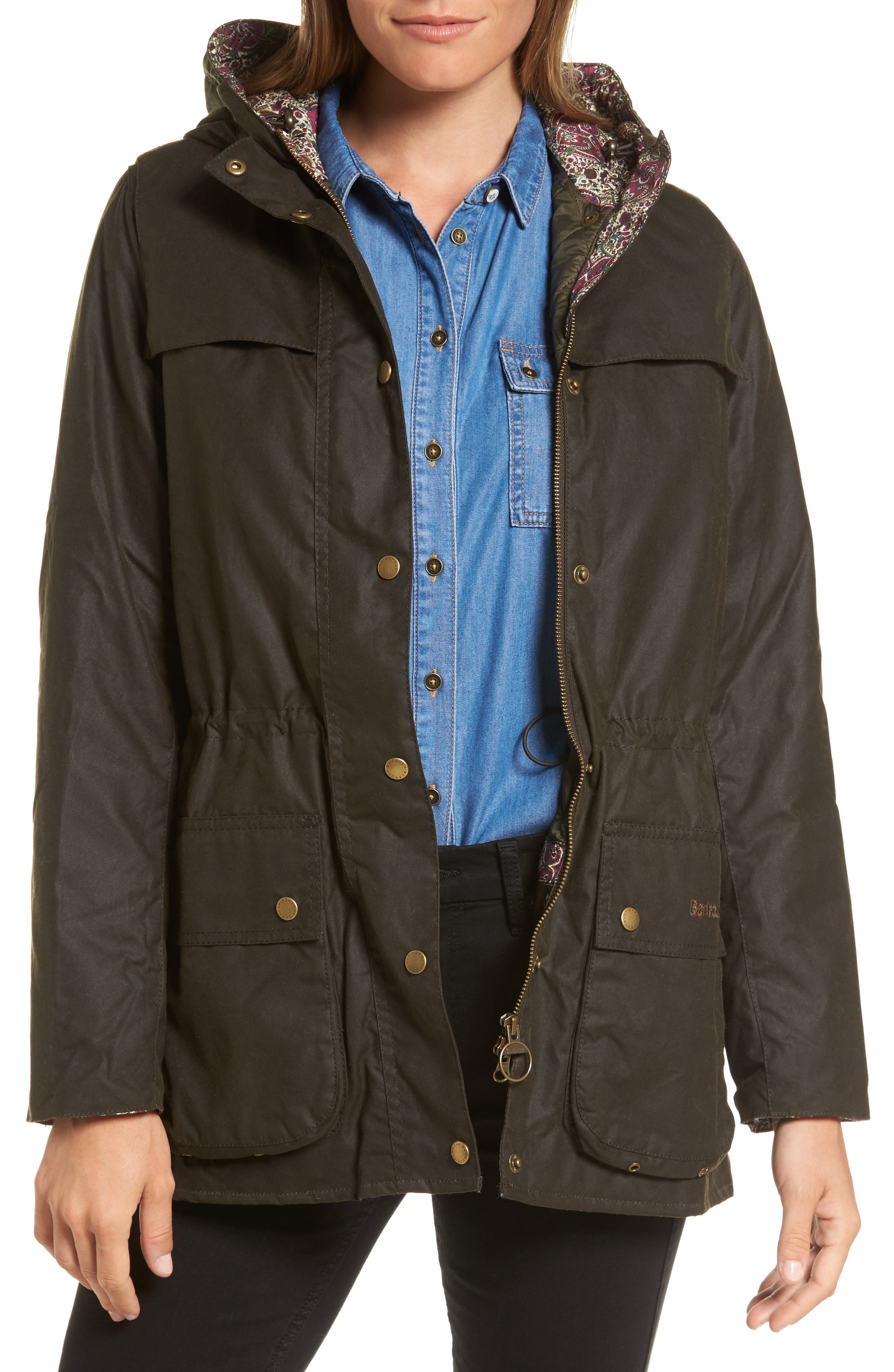 Main Image - Barbour x Liberty Blaise Hooded Waxed Canvas Jacket