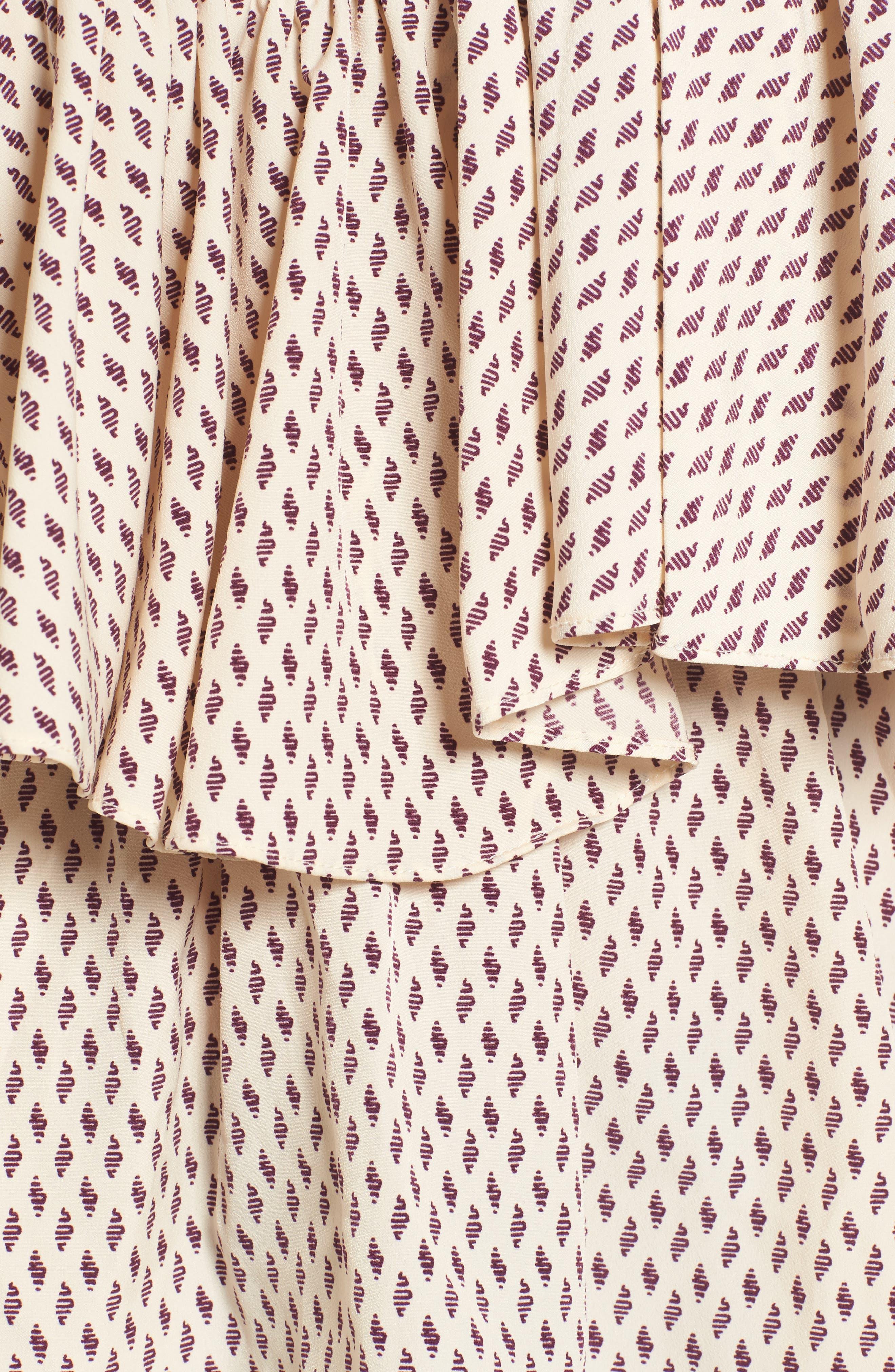Carole Off the Shoulder Top,                             Alternate thumbnail 5, color,                             Ivory/ Burgundy