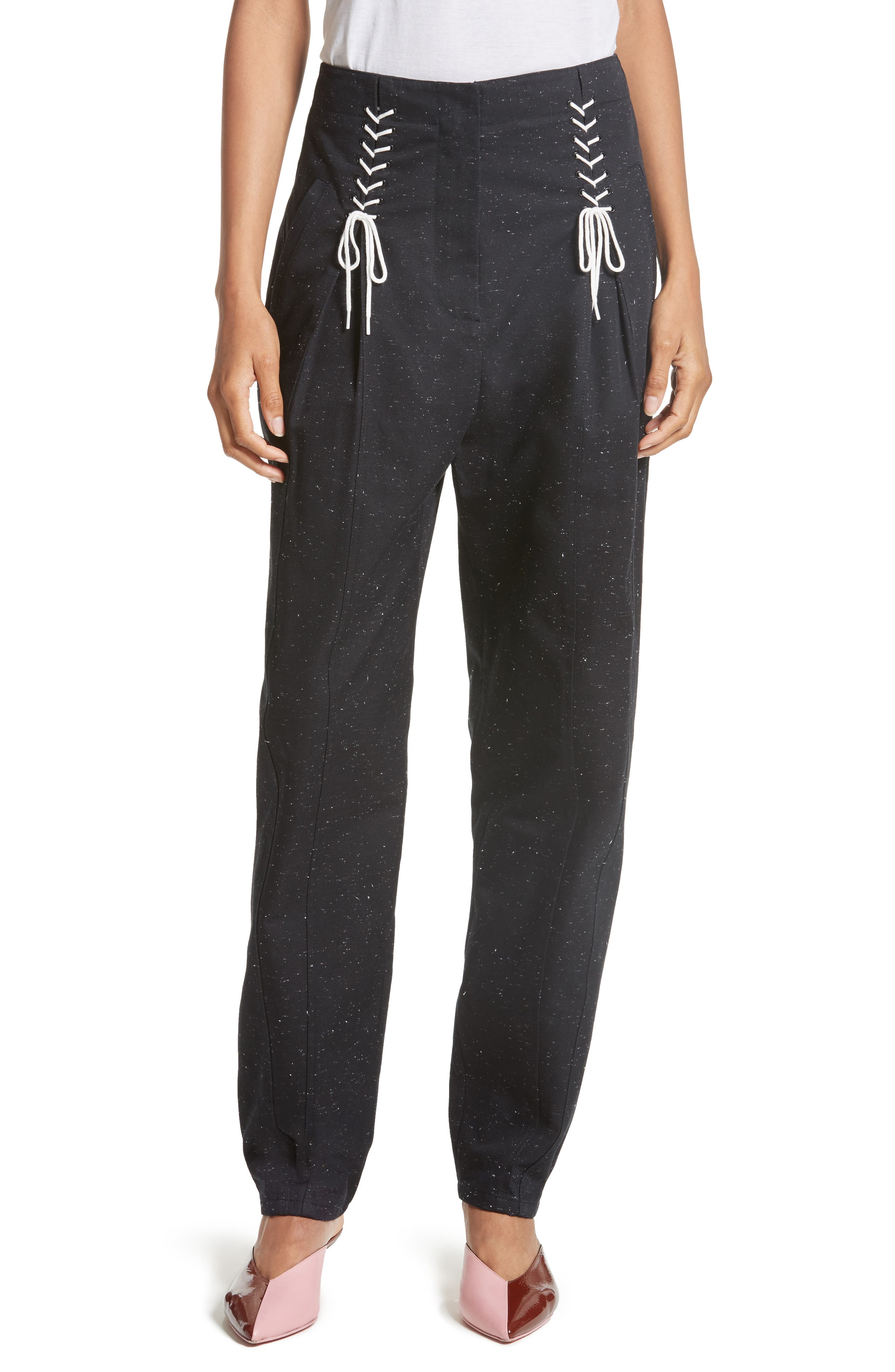 Tie Front Tweed Pants,                         Main,                         color, Black