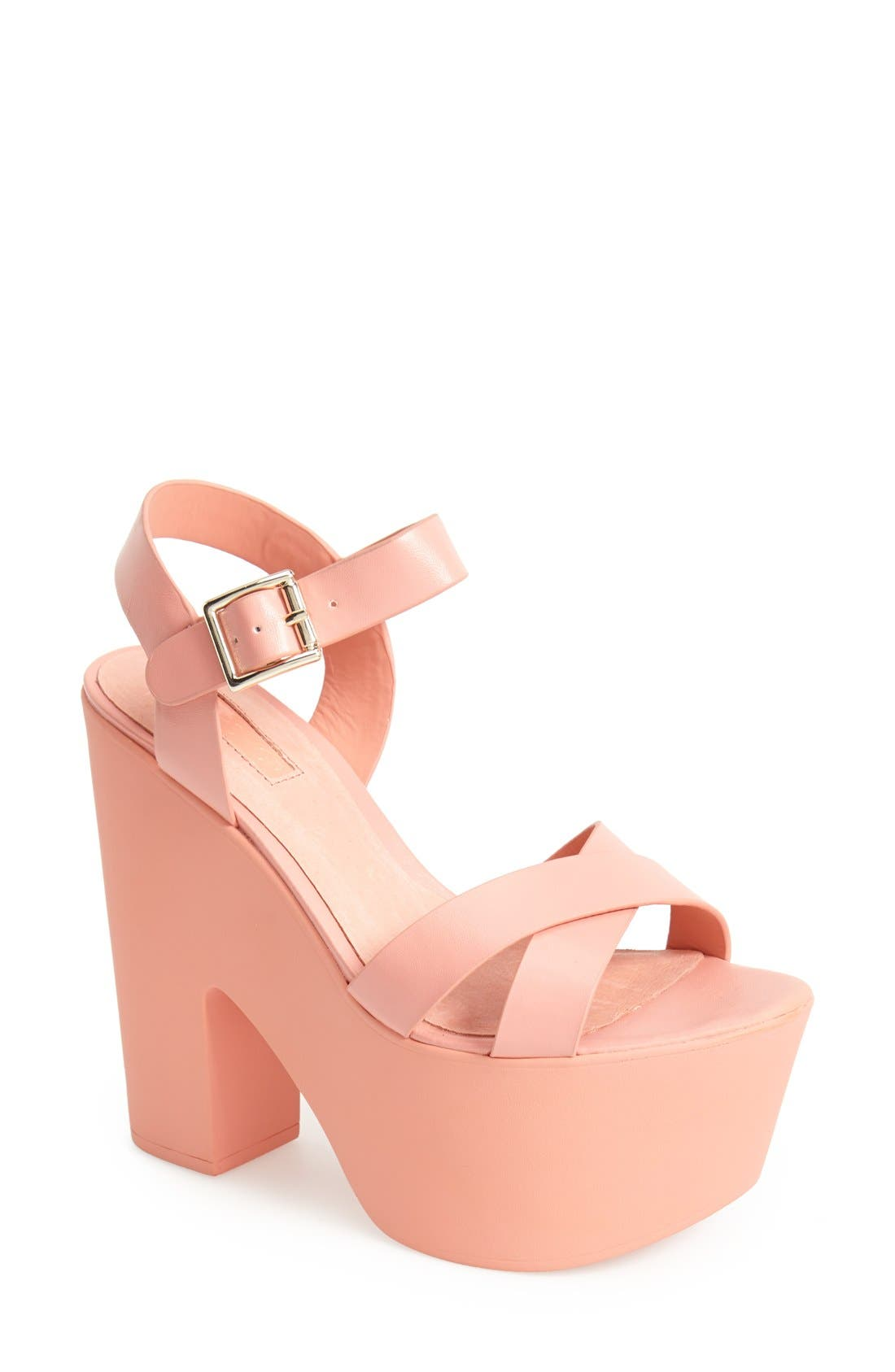 Alternate Image 1 Selected - Topshop 'Launch' Ankle Strap Platform Sandal (Women)
