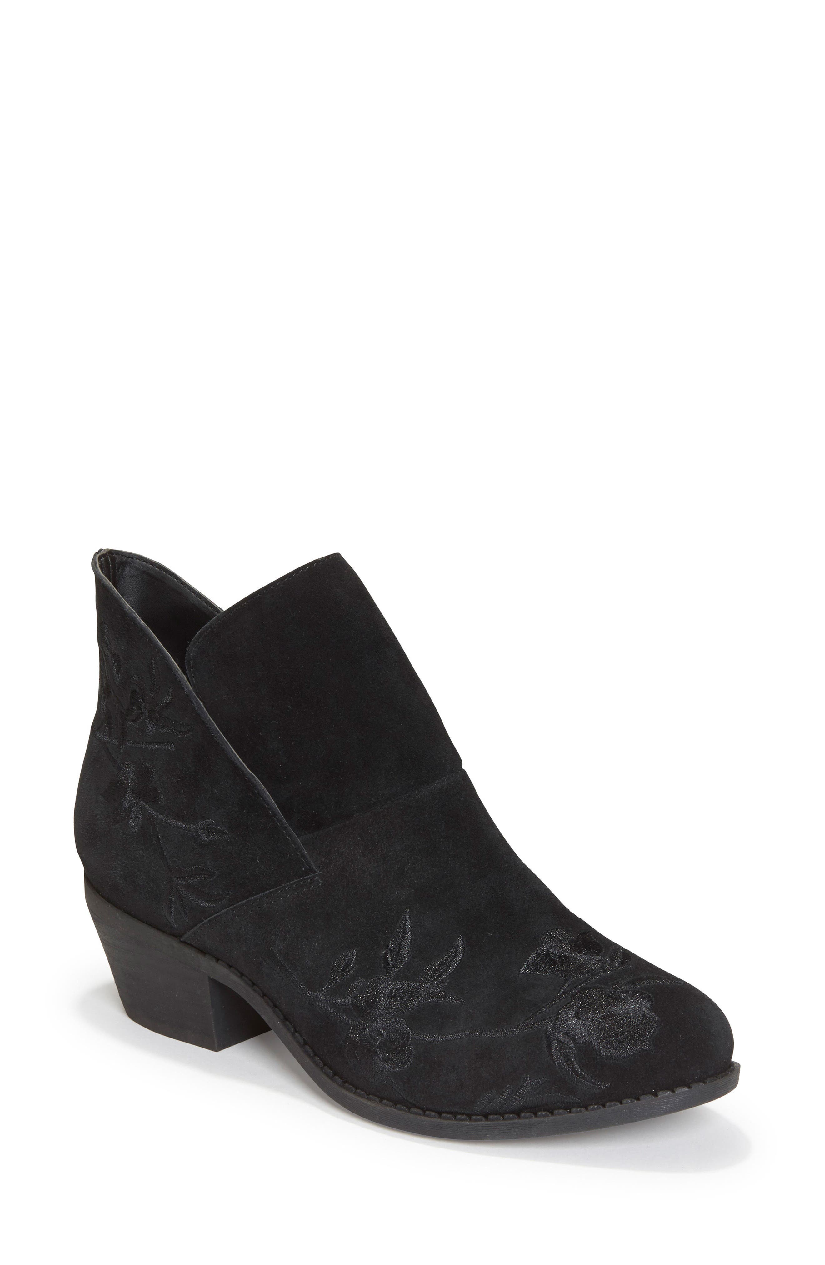 Me Too Zena Ankle Boot,                         Main,                         color, Black Floral Suede