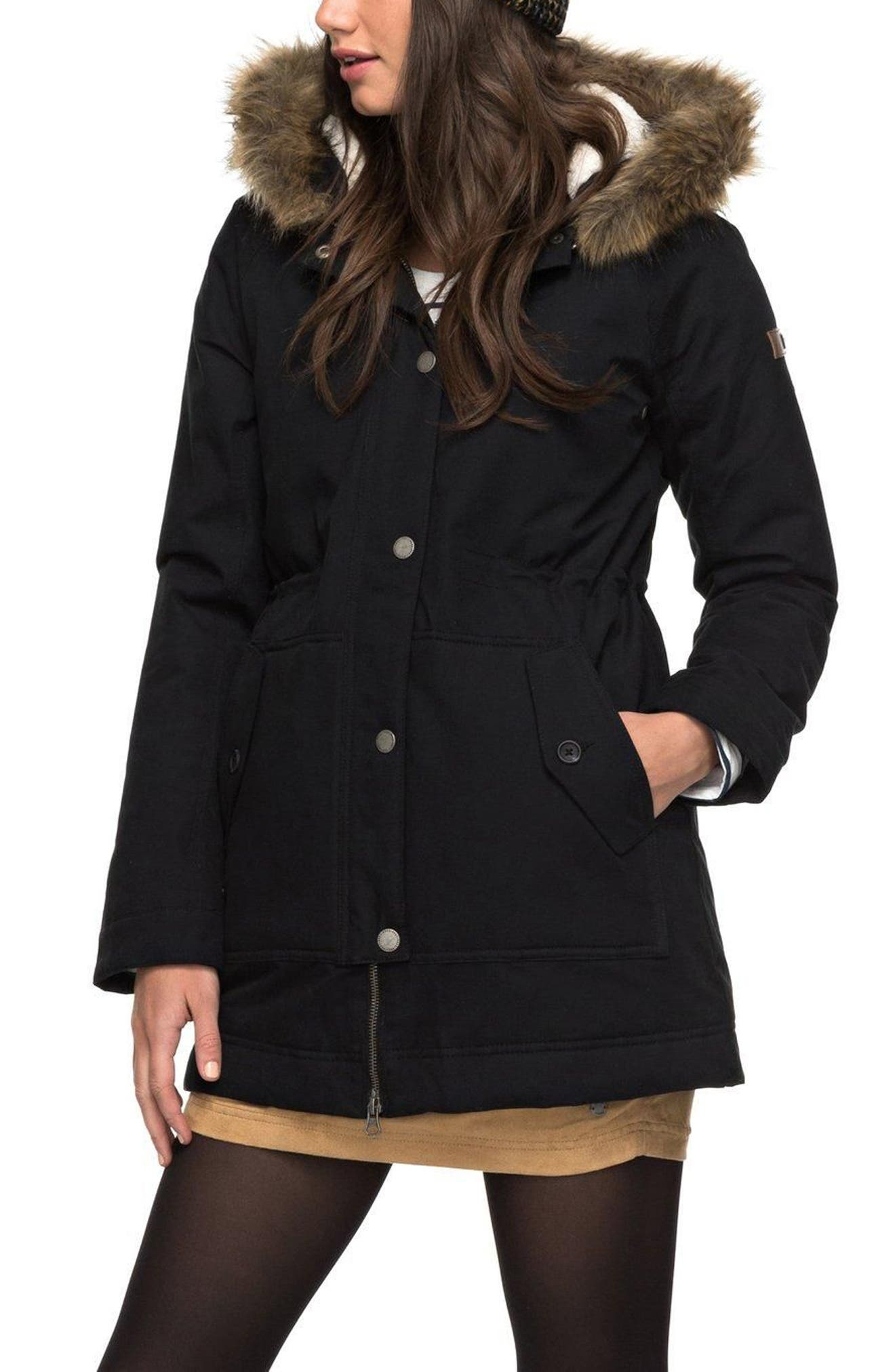 Roxy Mountain Song Faux Fur Trim Waterproof Hooded Parka