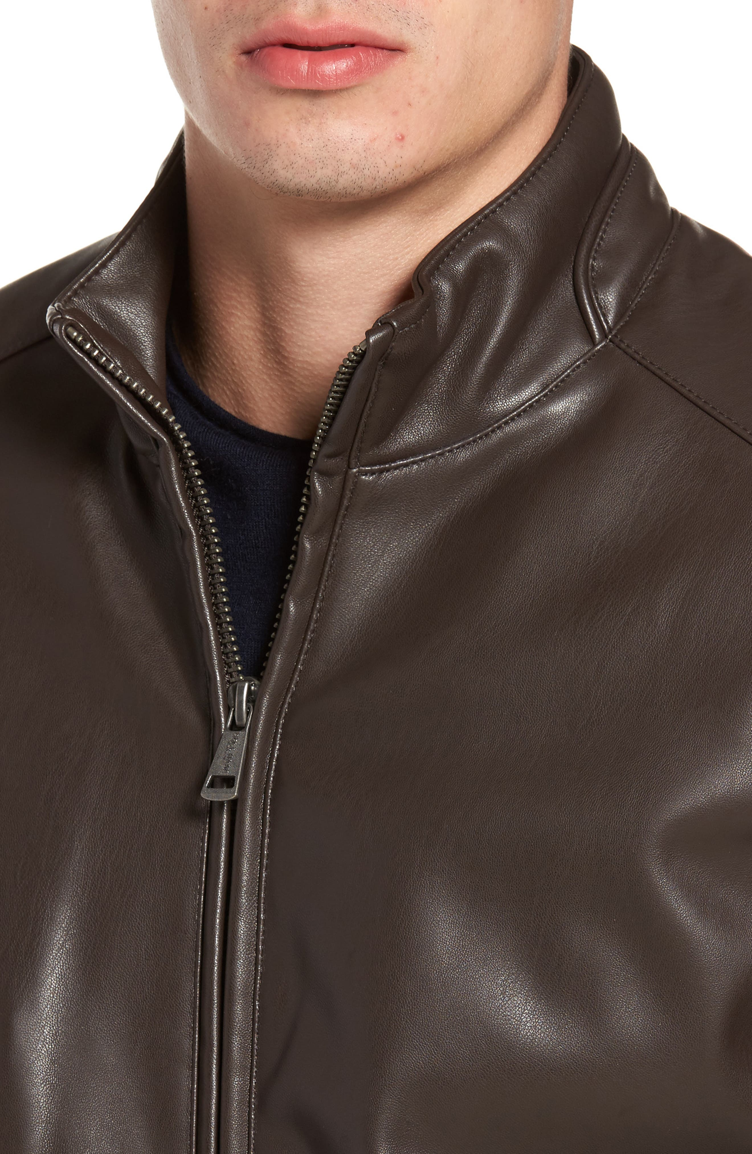 Faux Leather Jacket,                             Alternate thumbnail 4, color,                             Dark Brown