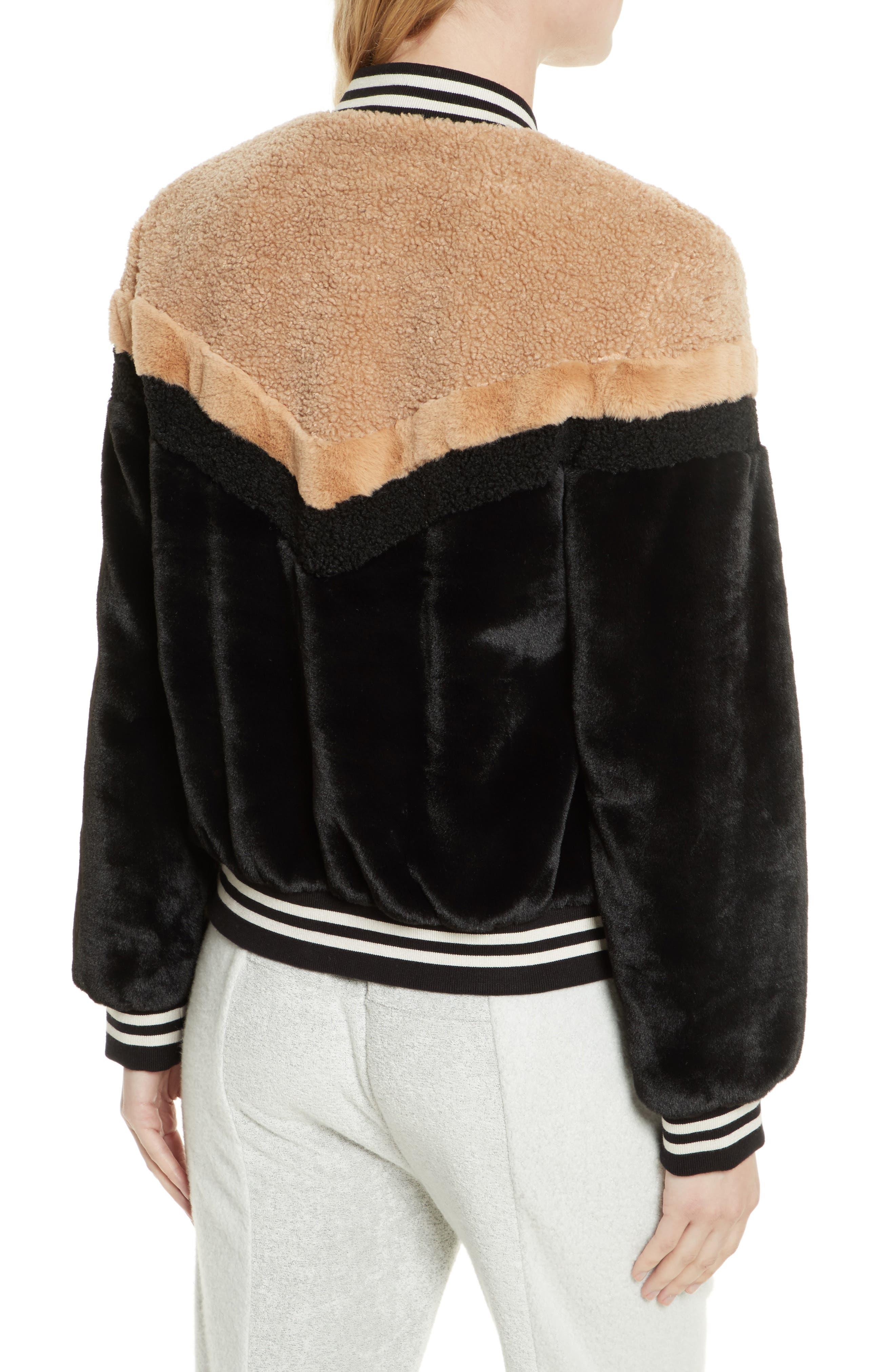 Mixed Faux Fur Bomber Jacket,                             Alternate thumbnail 2, color,                             Black