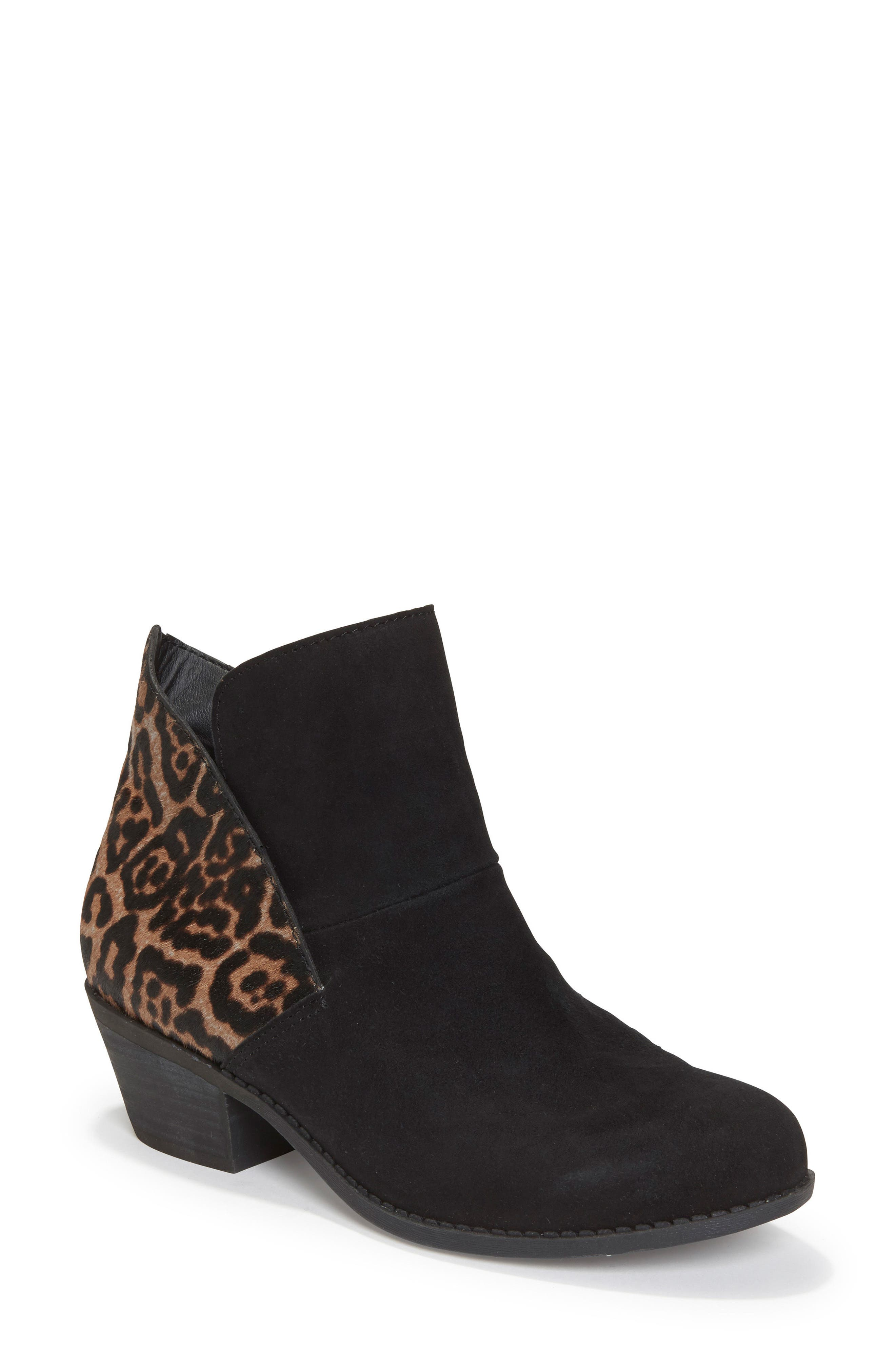 Zena Ankle Boot,                             Main thumbnail 1, color,                             Black/ Ash Jaguar Suede