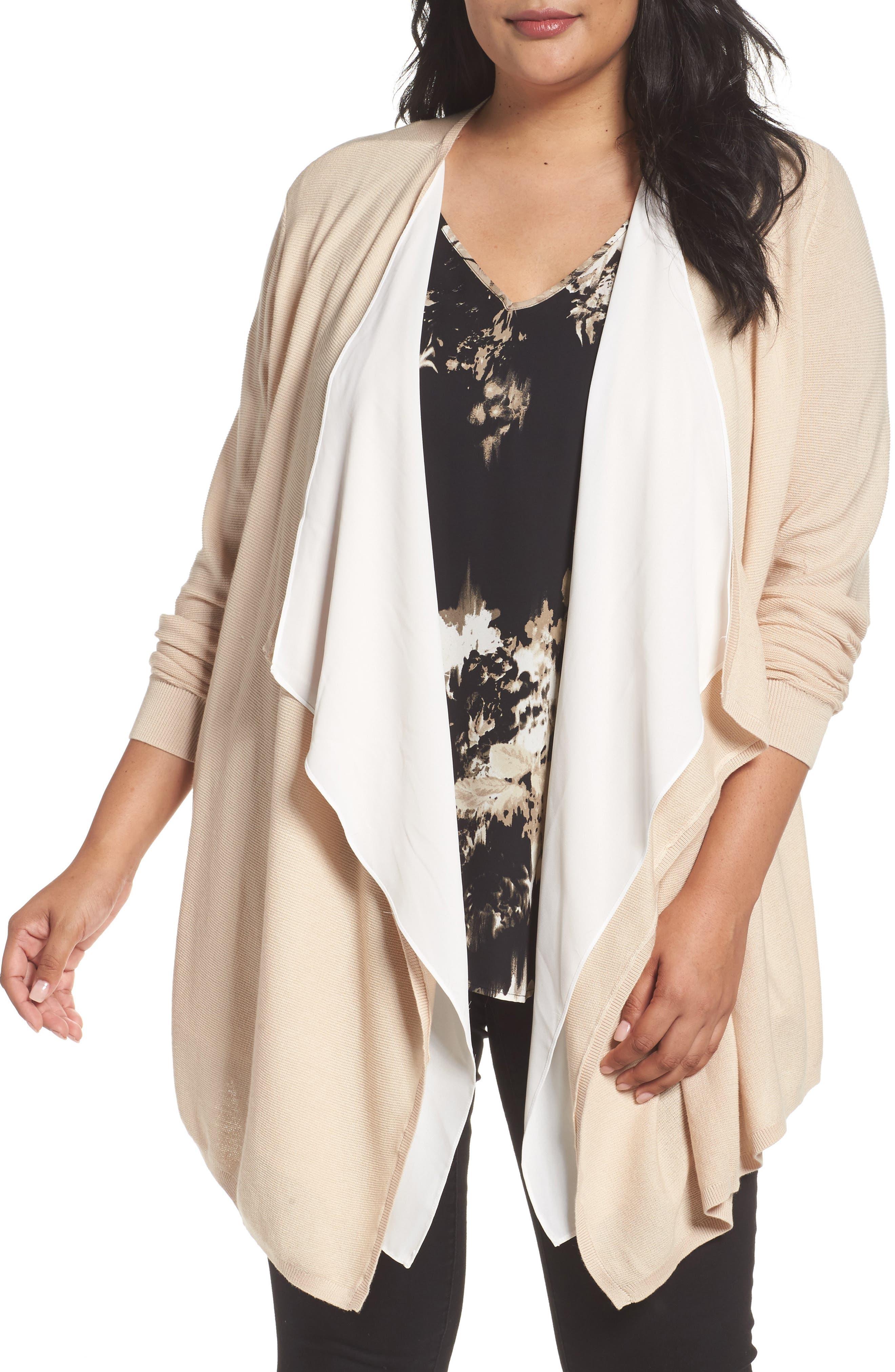 Main Image - Sejour Double Layer Cardigan (Plus Size)