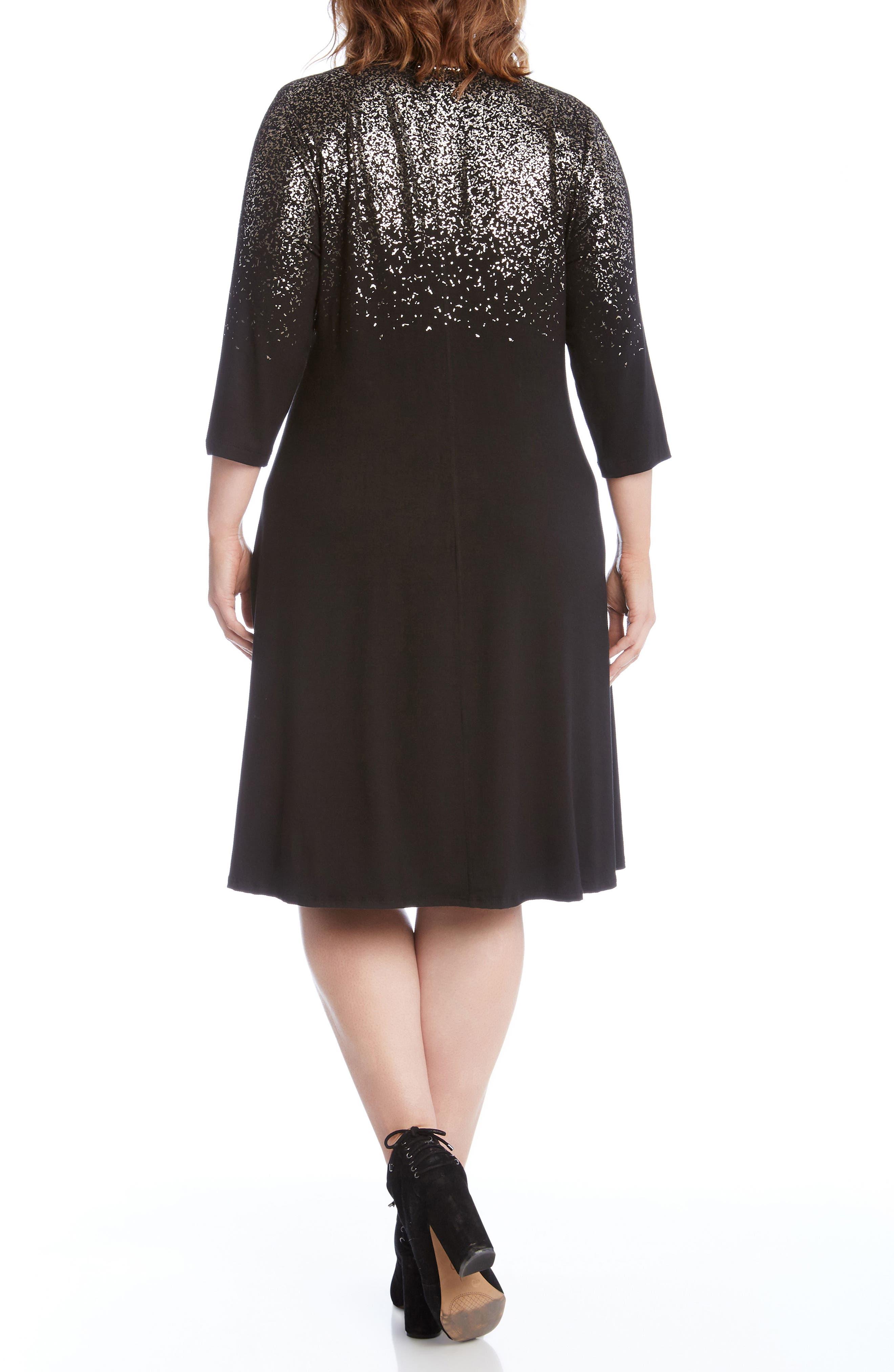 Alternate Image 2  - Karen Kane Speckled Print A-Line Dress (Plus Size)