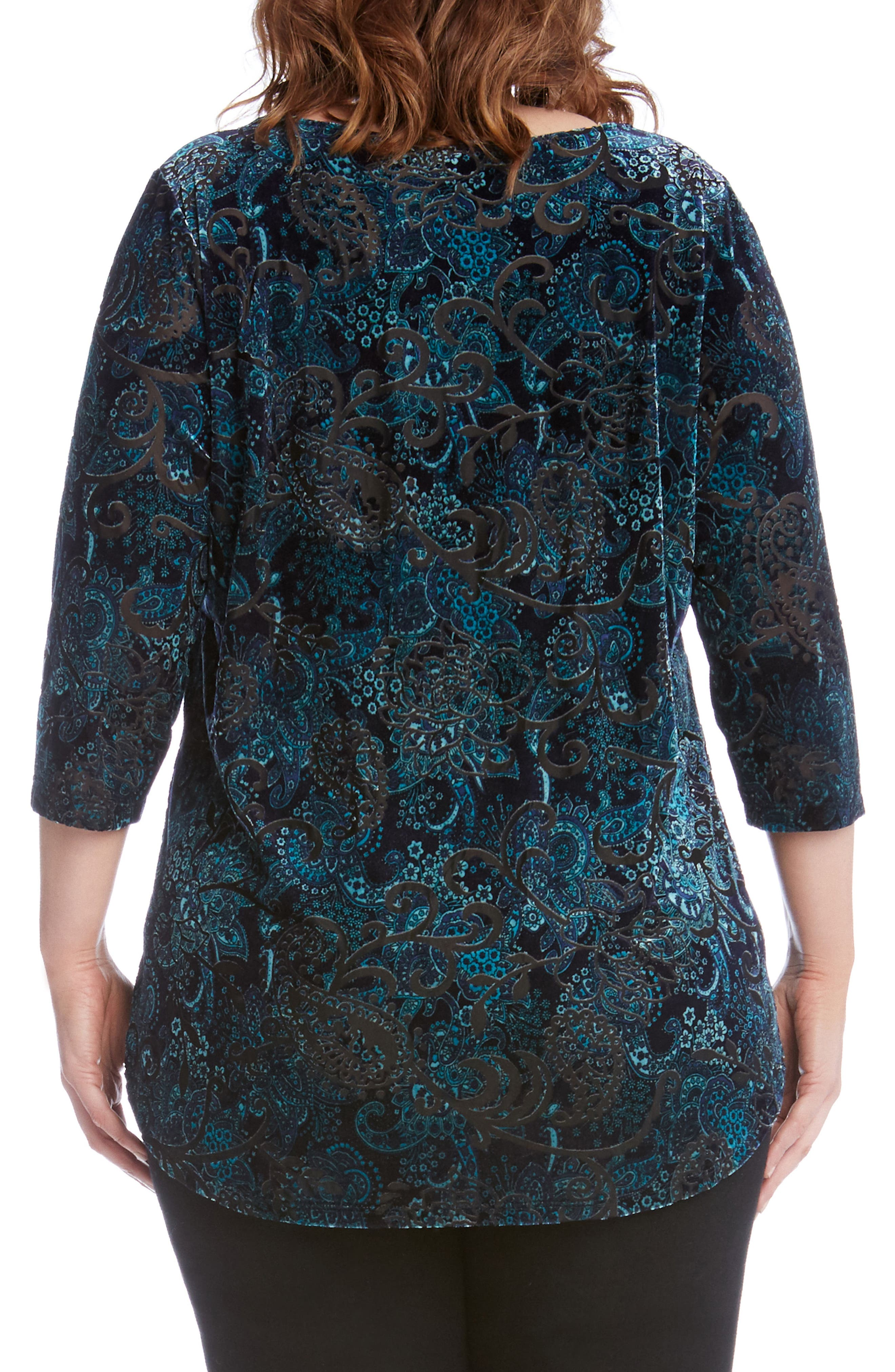 Alternate Image 3  - Karen Kane Velvet Burnout Top (Plus Size)