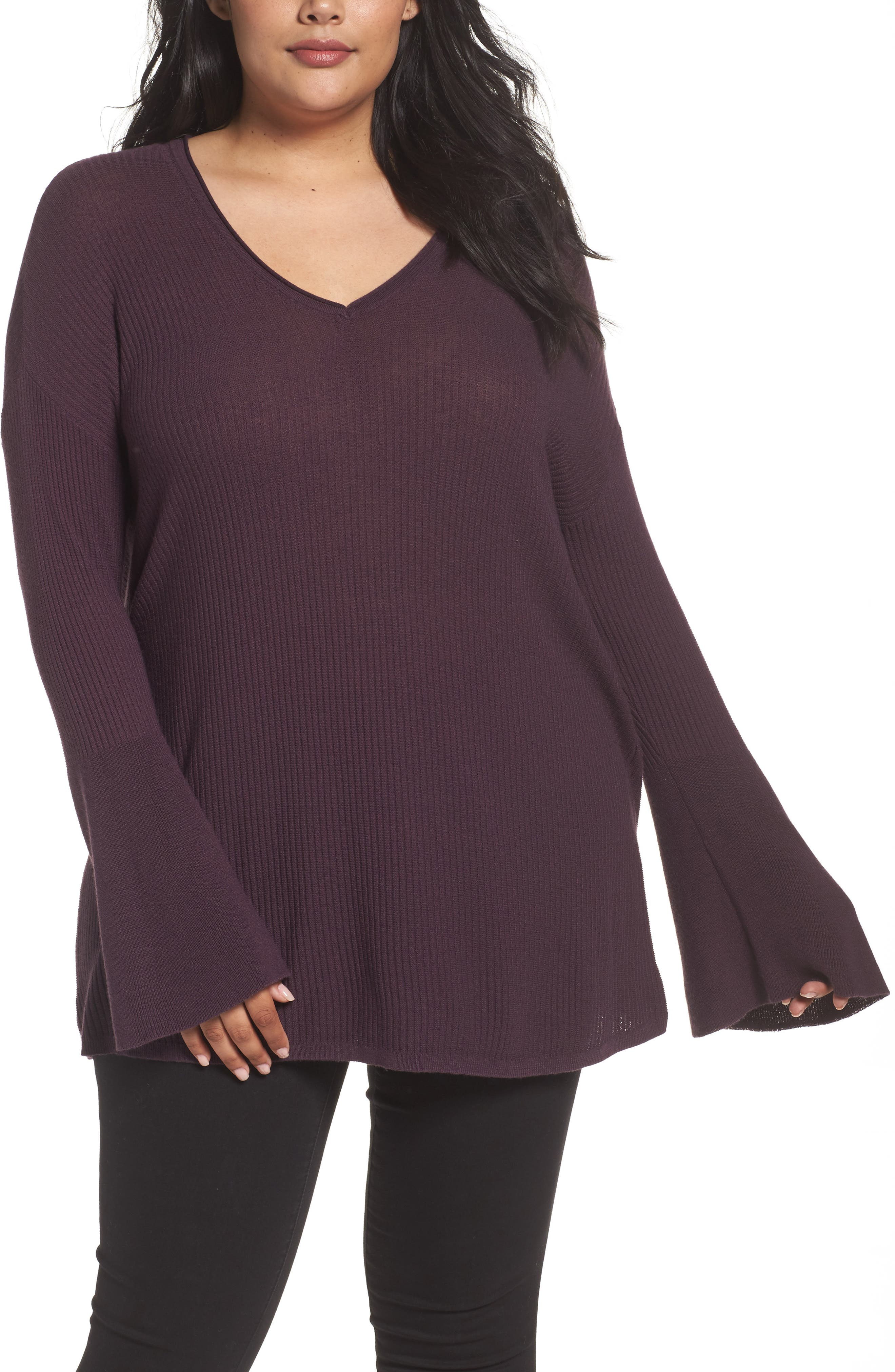 Ribbed Bell Sleeve Sweater,                         Main,                         color, Purple Plum