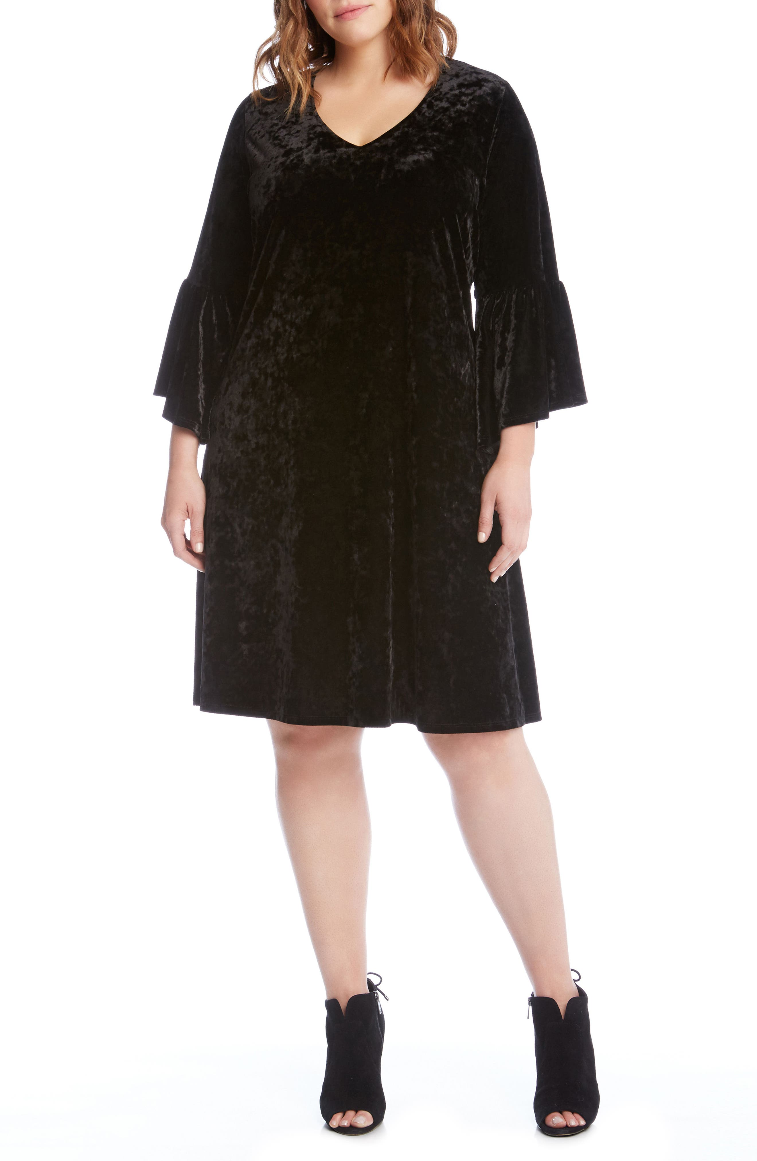 Karen Kane Bell Sleeve A-Line Velvet Dress (Plus Size)