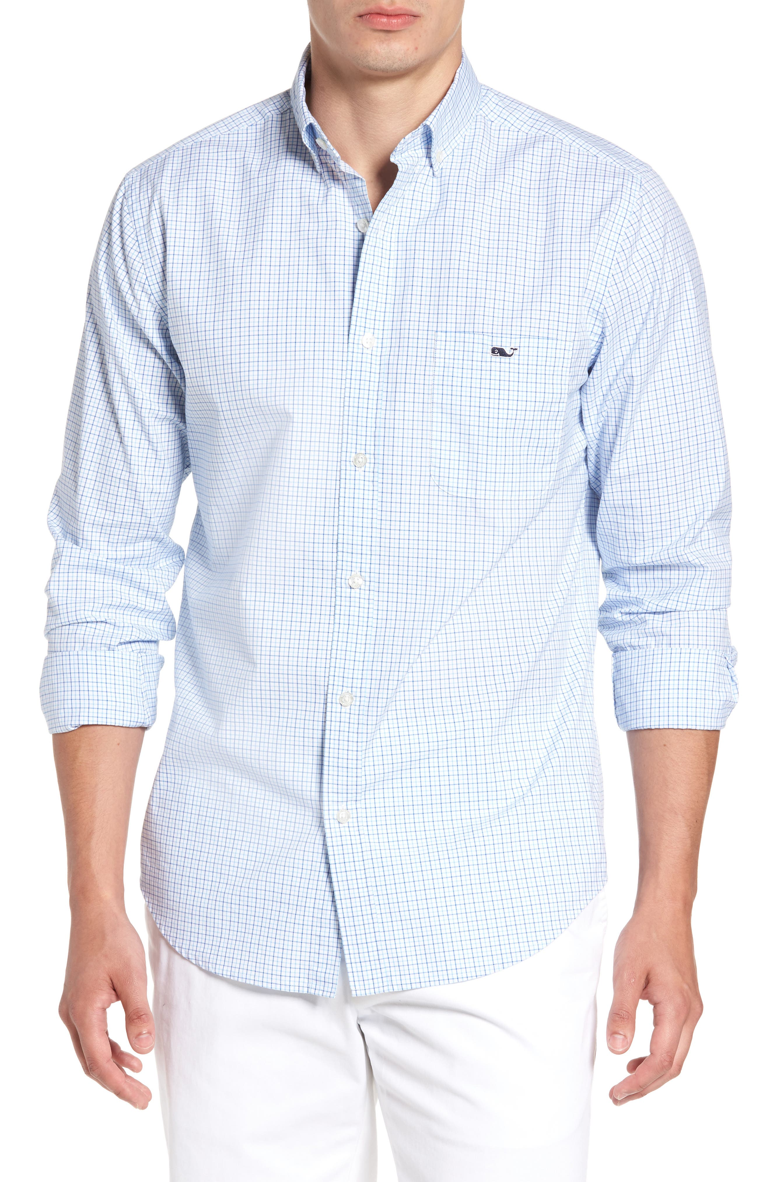 Twin Pond Classic Fit Tattersall Check Sport Shirt,                         Main,                         color, Ocean Breeze