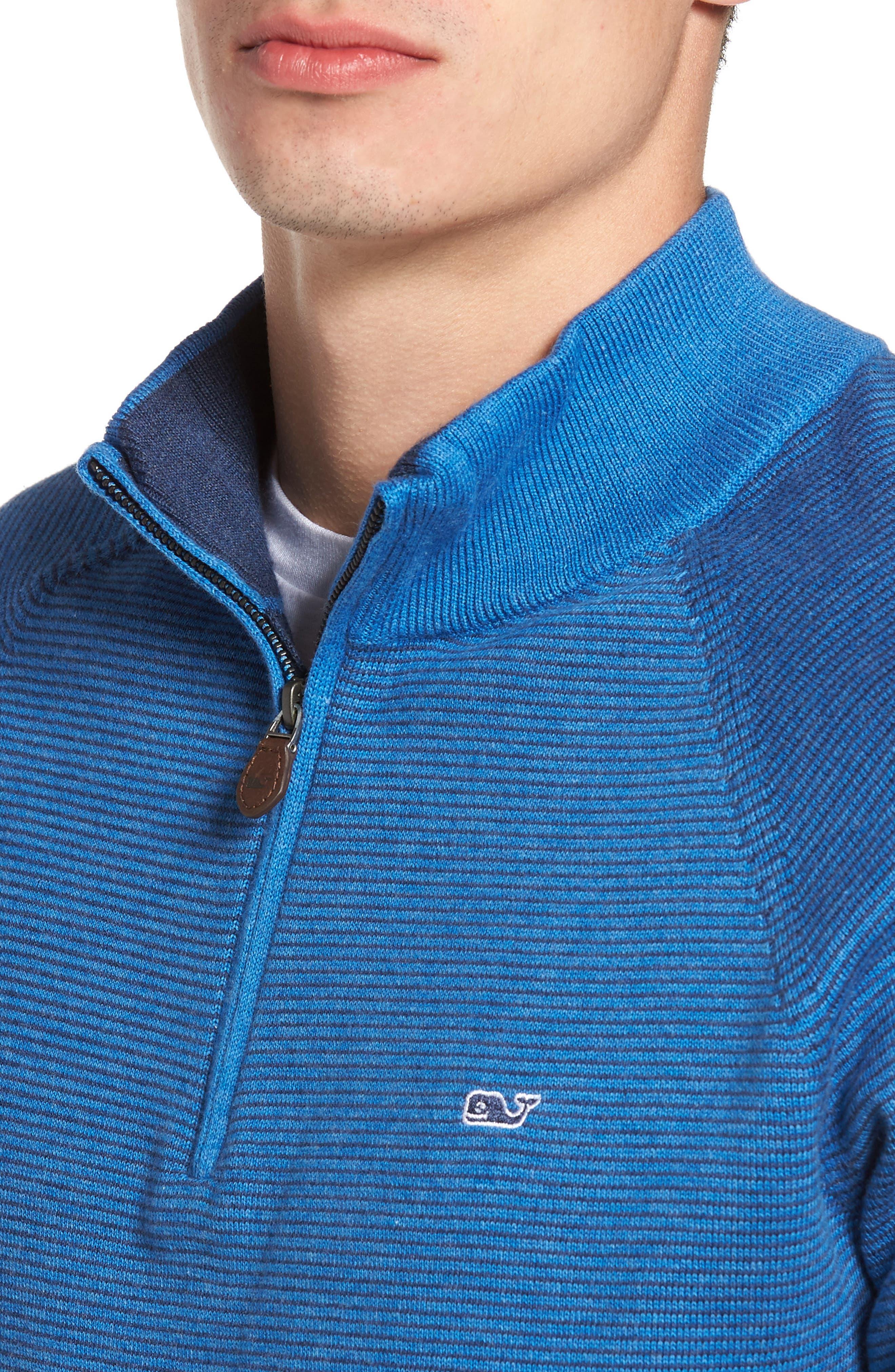Fine Stripe Quarter Zip Sweater,                             Alternate thumbnail 4, color,                             Regatta Blue