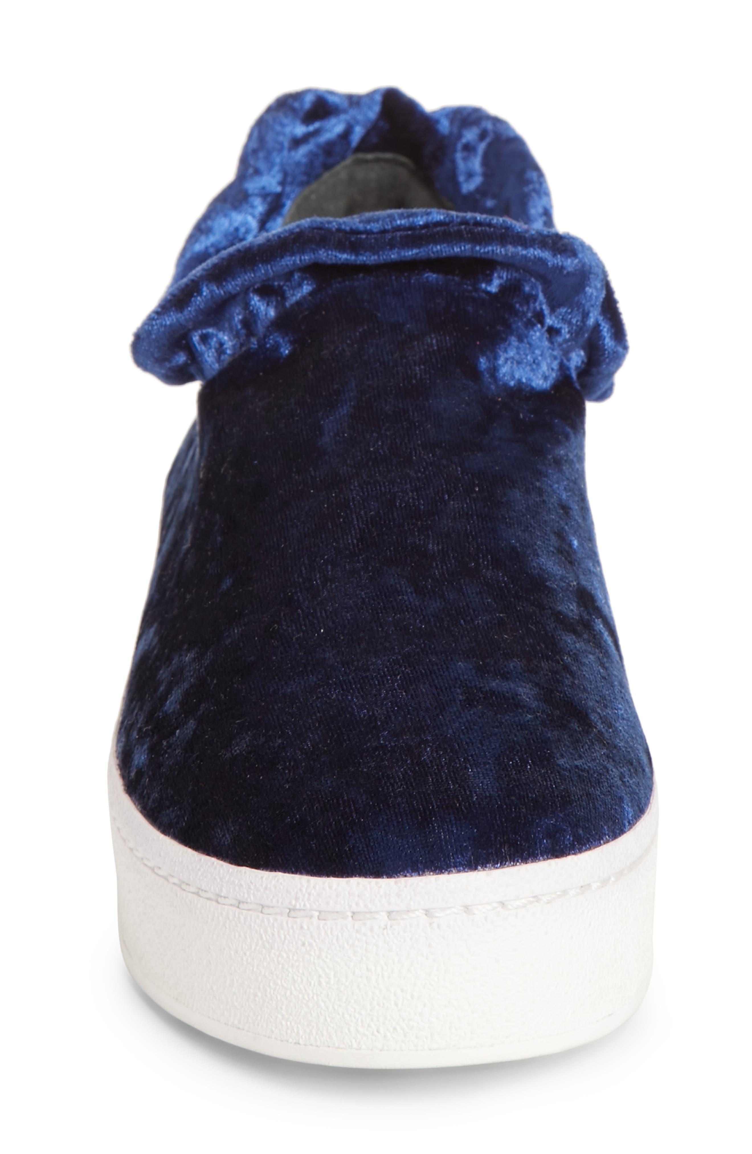 Cici Velvet Ruffle Slip-On Sneaker,                             Alternate thumbnail 4, color,                             Eclipse