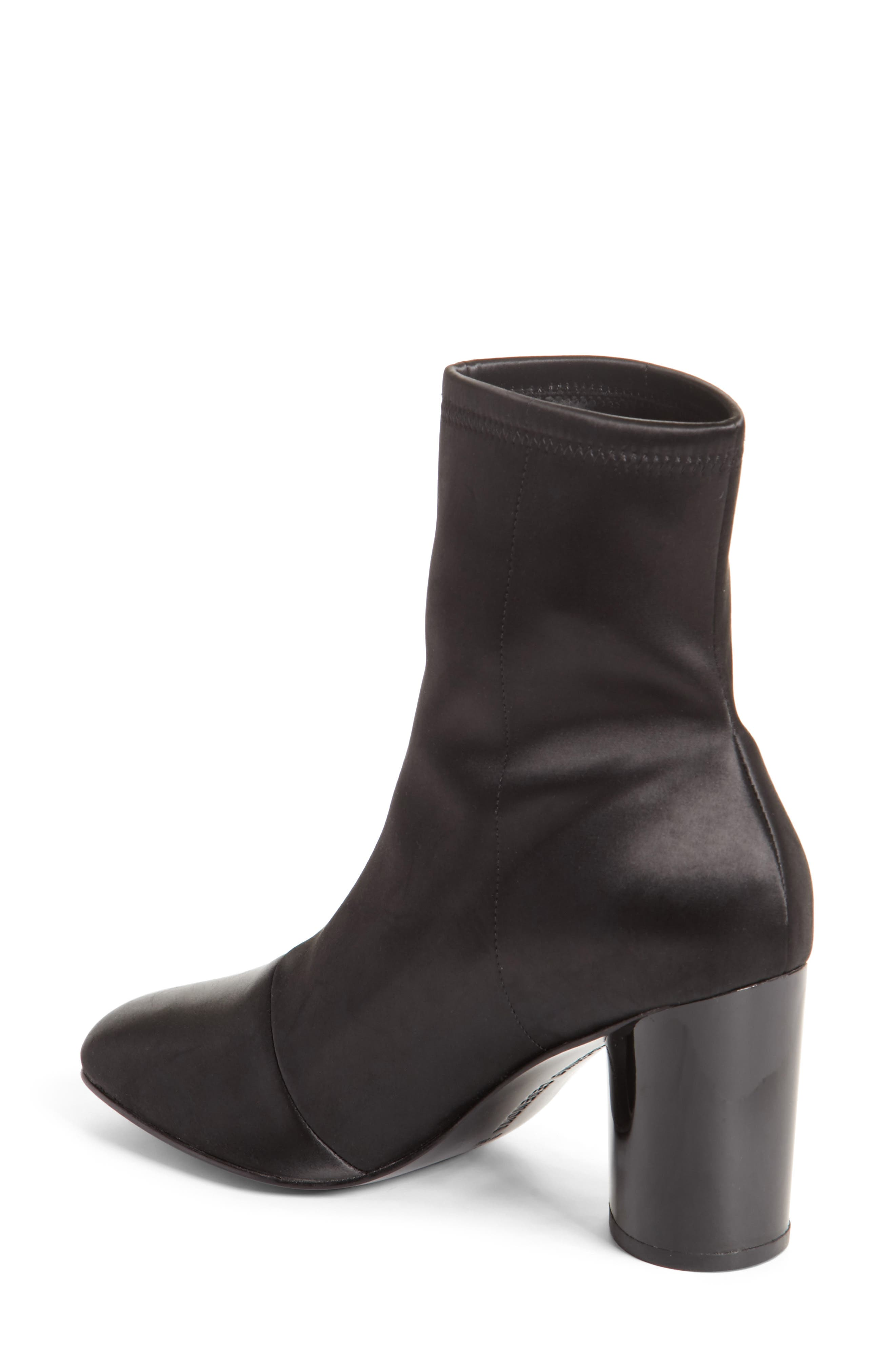 Dylan Stretch Satin Bootie,                             Alternate thumbnail 3, color,                             Black