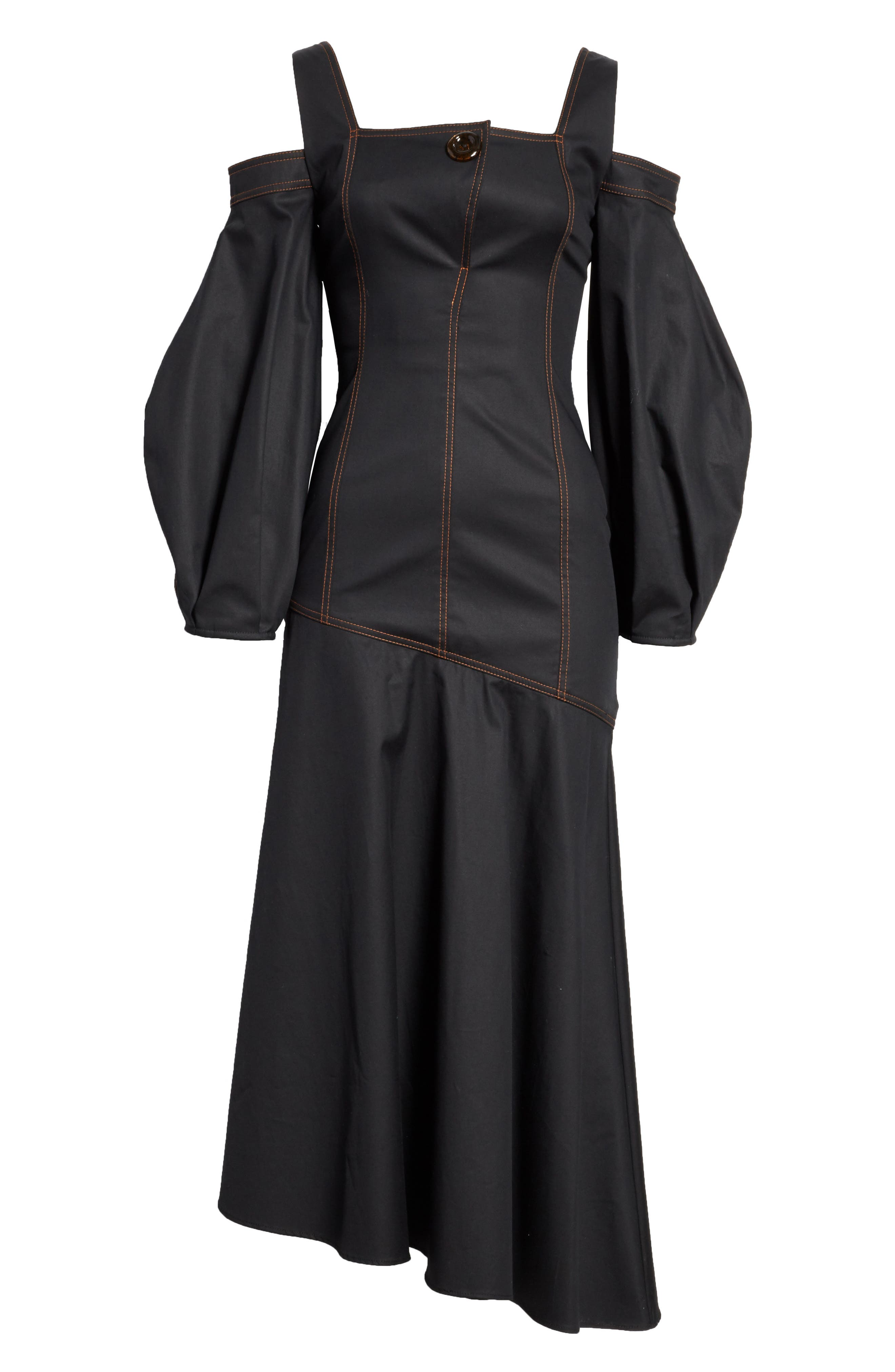 Mississippi Off the Shoulder Stretch Twill Dress,                             Alternate thumbnail 4, color,                             Black W Toffee