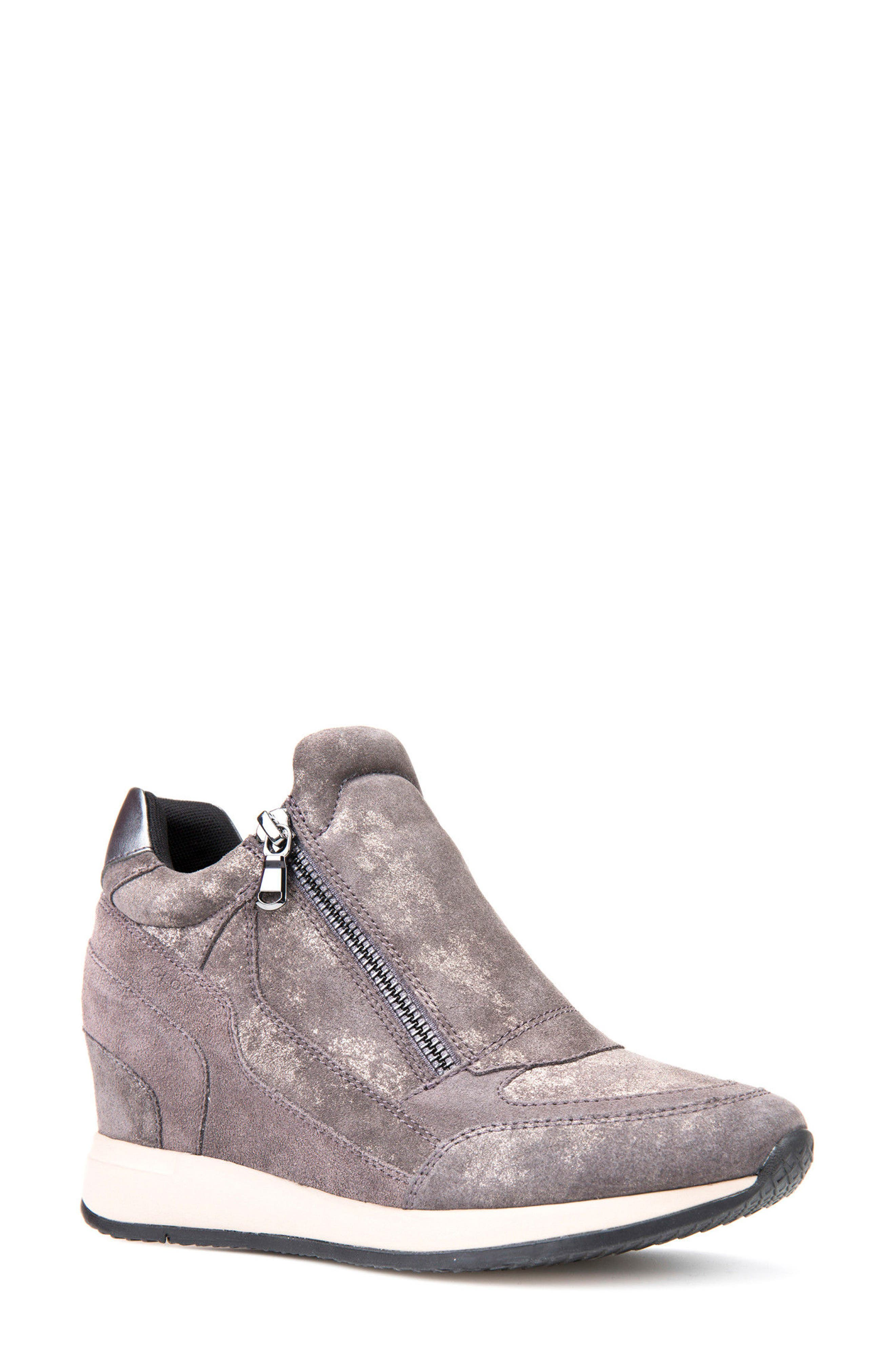 Nydame Wedge Sneaker,                         Main,                         color, Dark Grey Leather