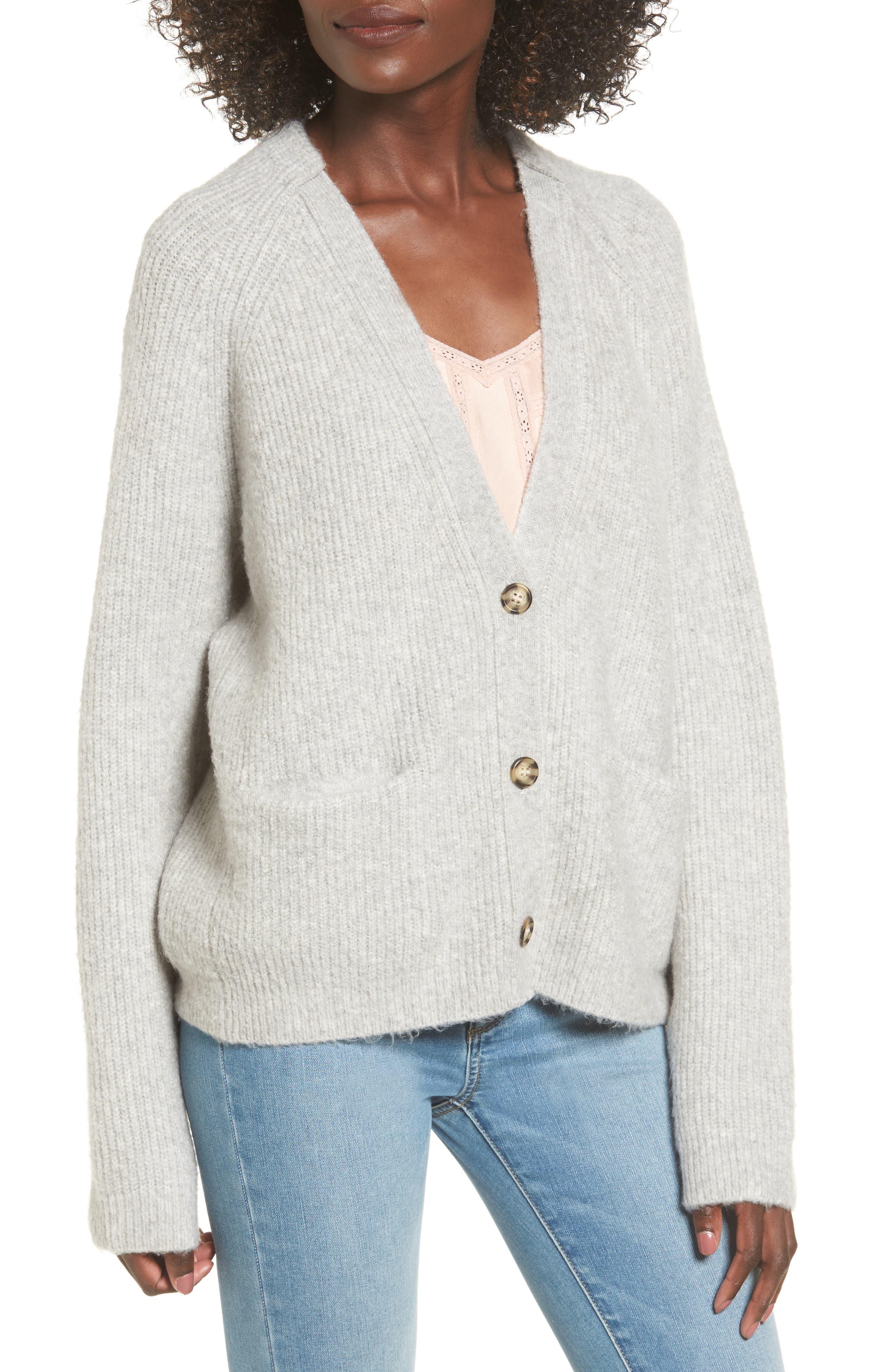 Cardigan Sweater,                             Main thumbnail 1, color,                             Grey Med Htr