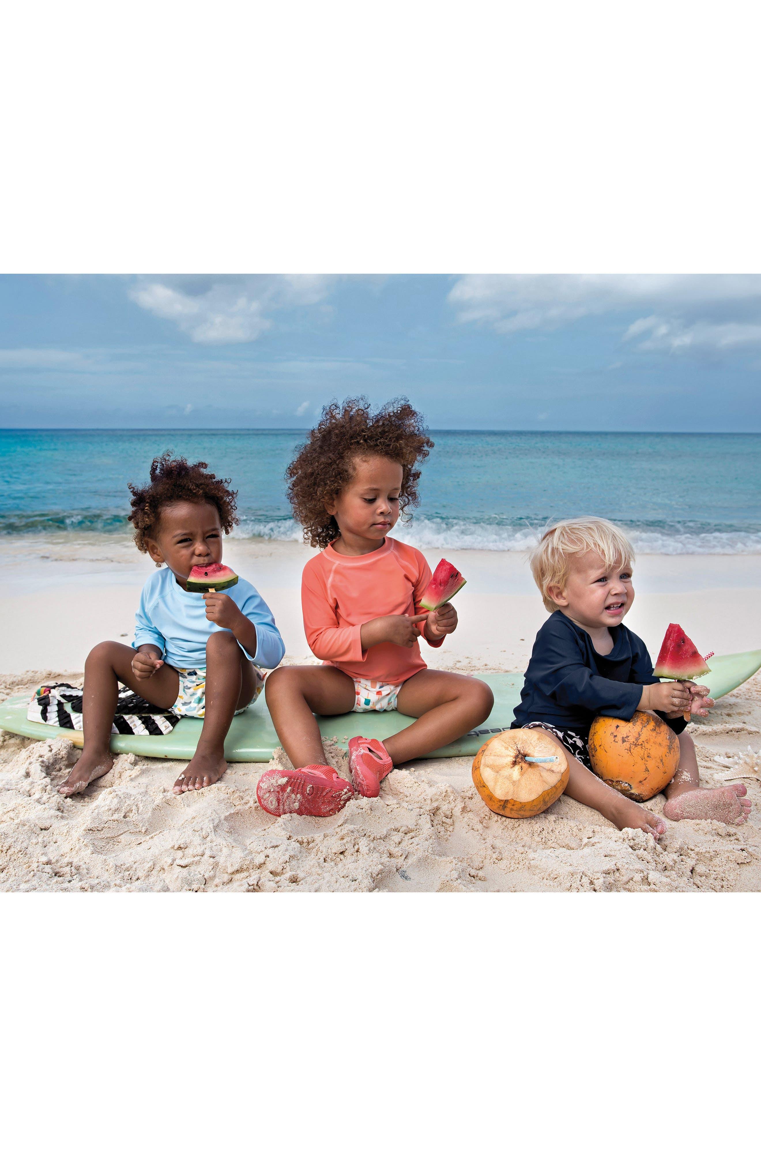 Alternate Image 2  - Lassig Two-Piece Rashguard Swimsuit & Hat Set (Baby Girls & Toddler Girls)