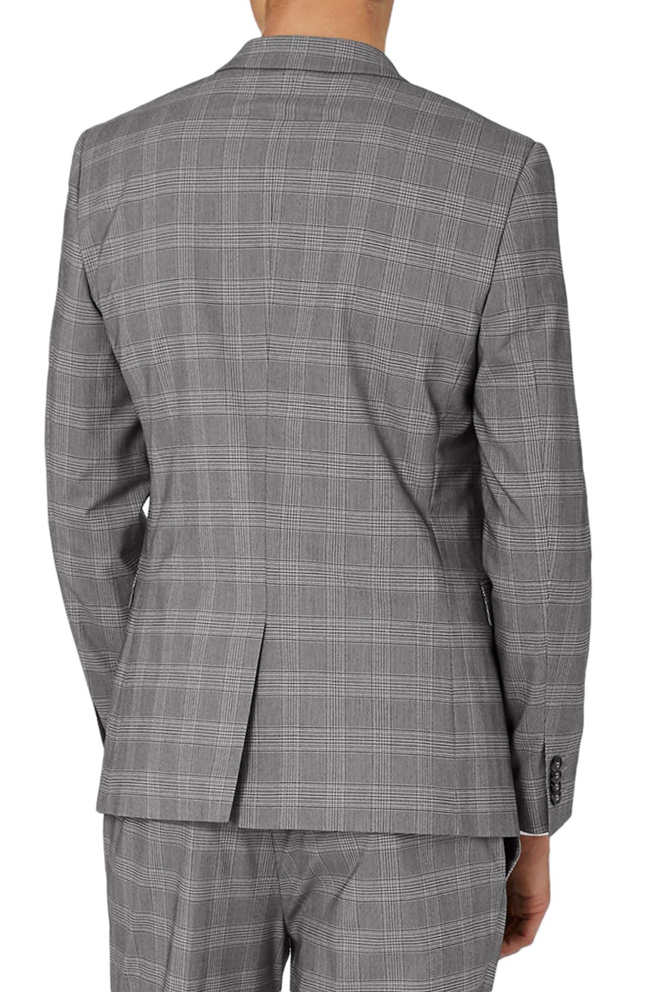 Skinny Fit Check Suit Jacket,                             Alternate thumbnail 3, color,                             Black