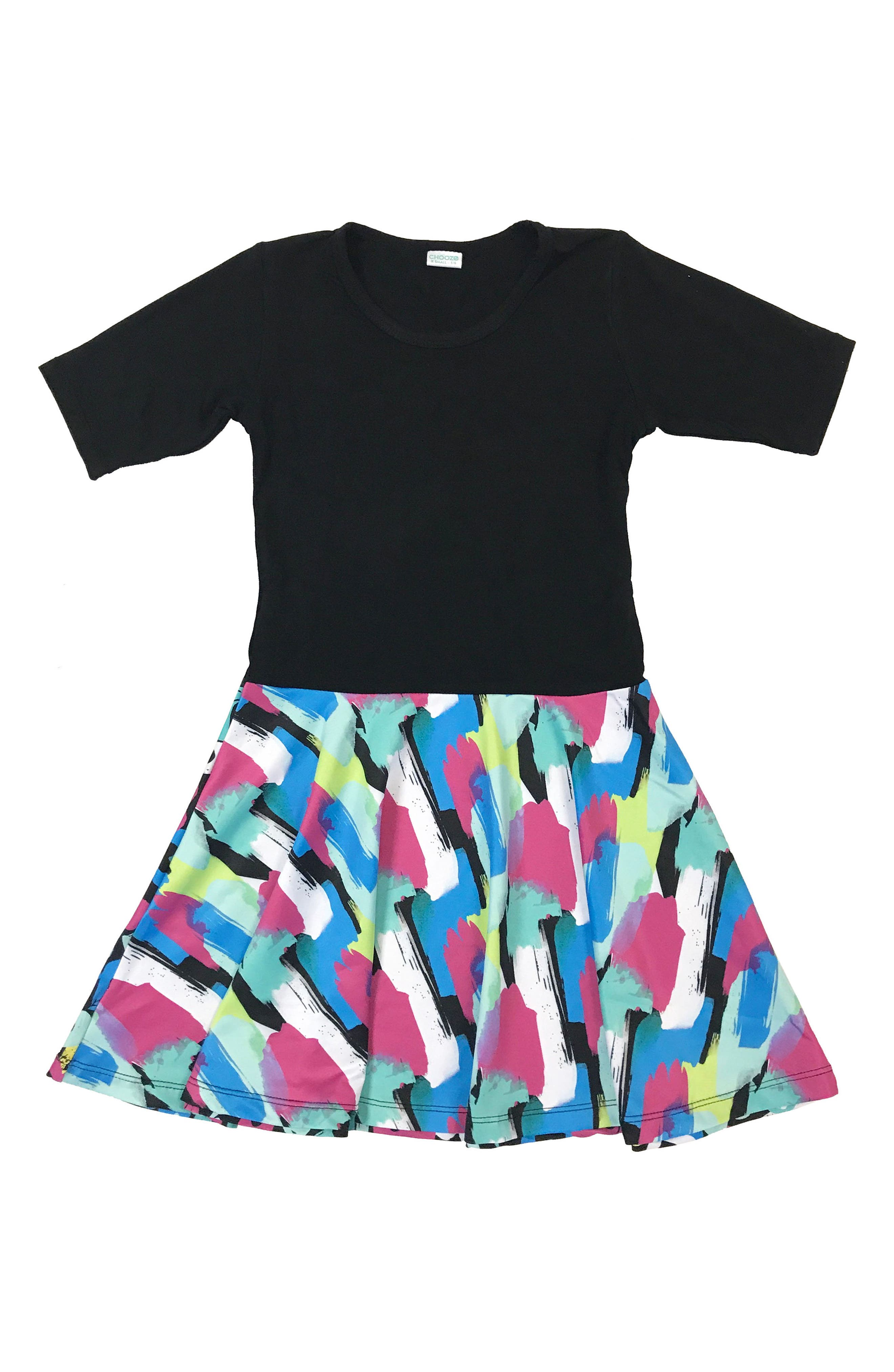 Alternate Image 1 Selected - CHOOZE Spree Mixed Print Dress (Little Girls & Big Girls)
