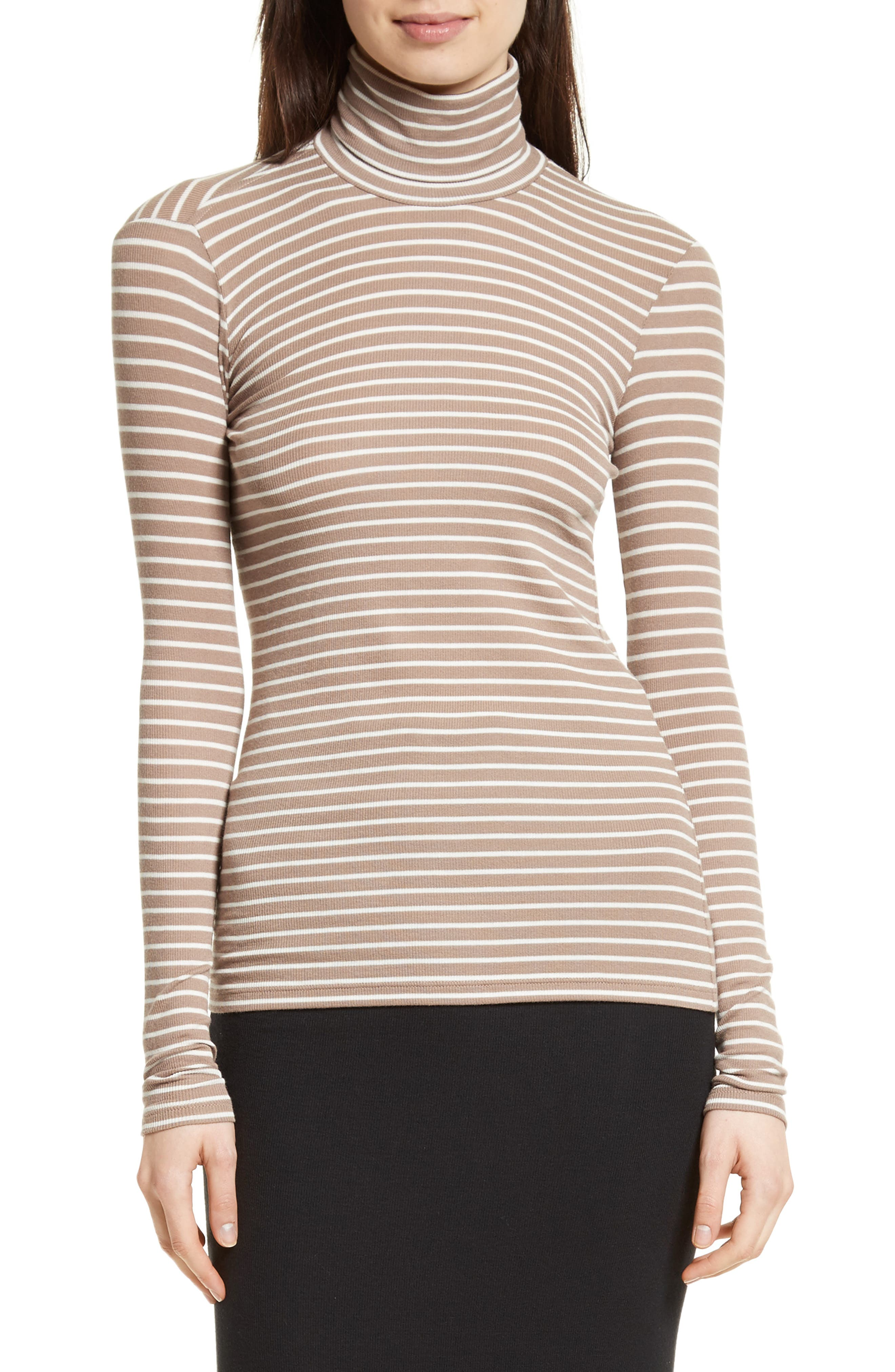 ATM Anthony Thomas Melillo Mock Neck Ribbed Jersey Top