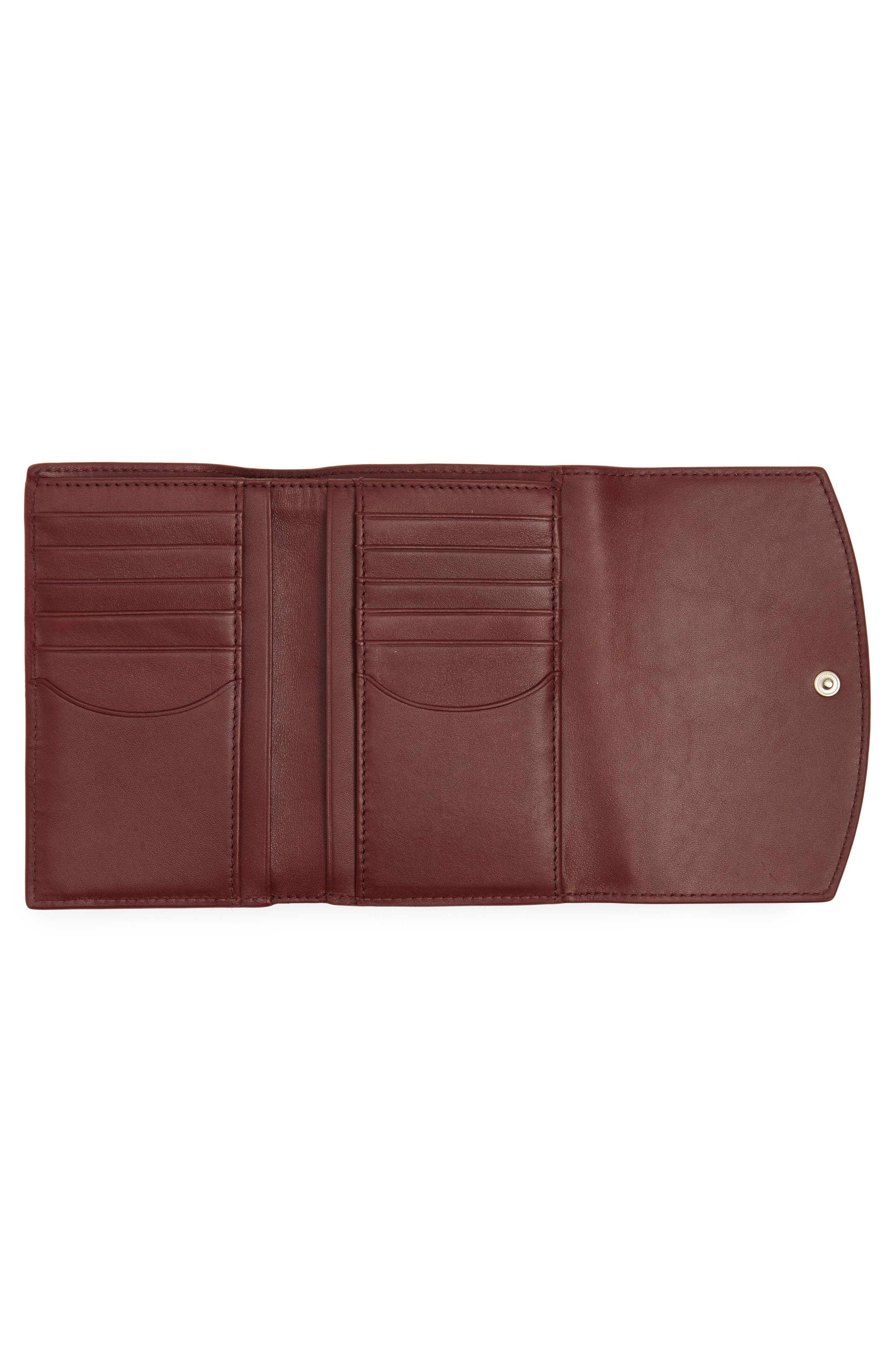 Compact Flap Leather Wallet,                             Alternate thumbnail 2, color,                             Cordovan