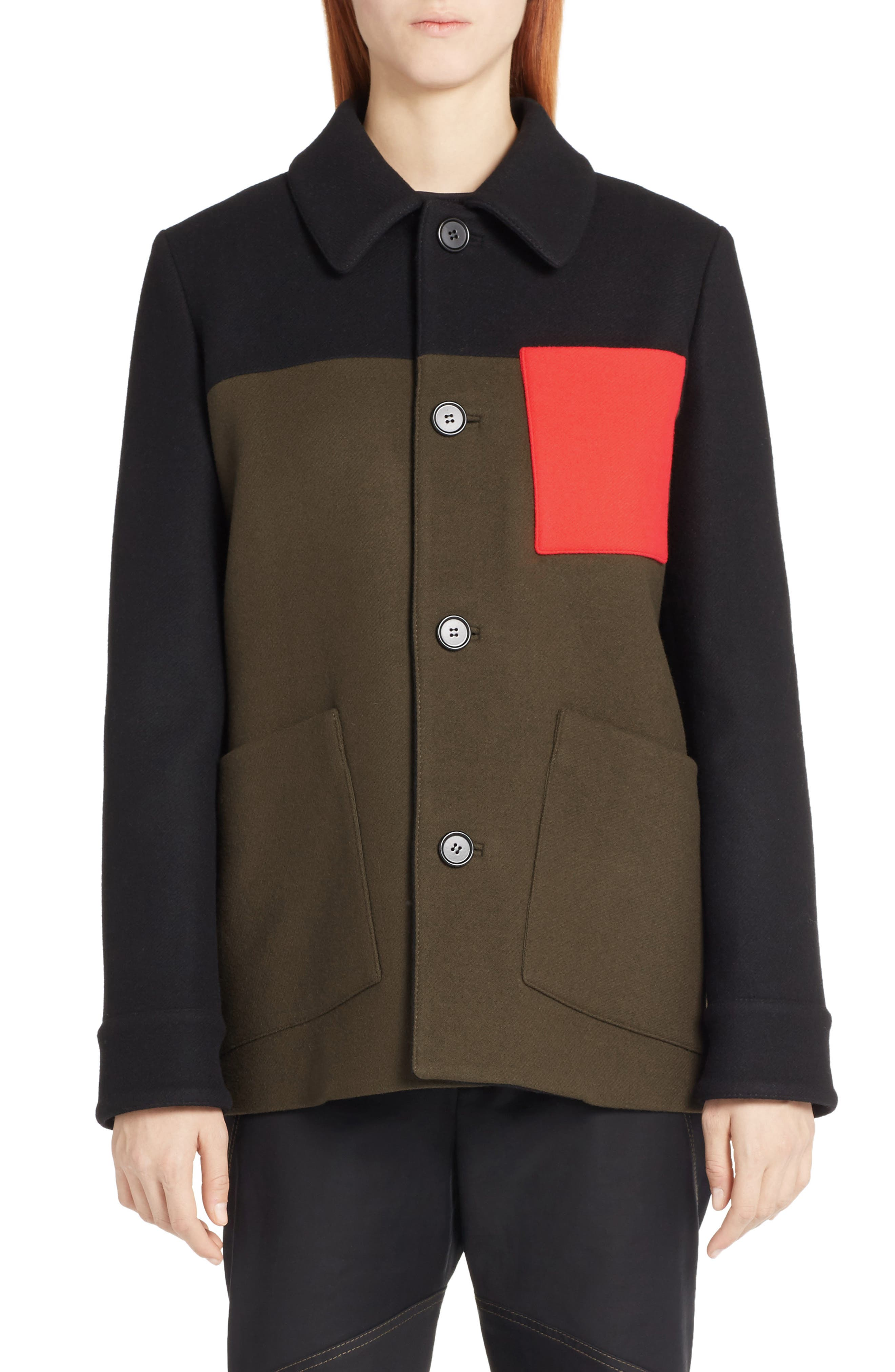 Marni Colorblock Wool Blend Felt Coat