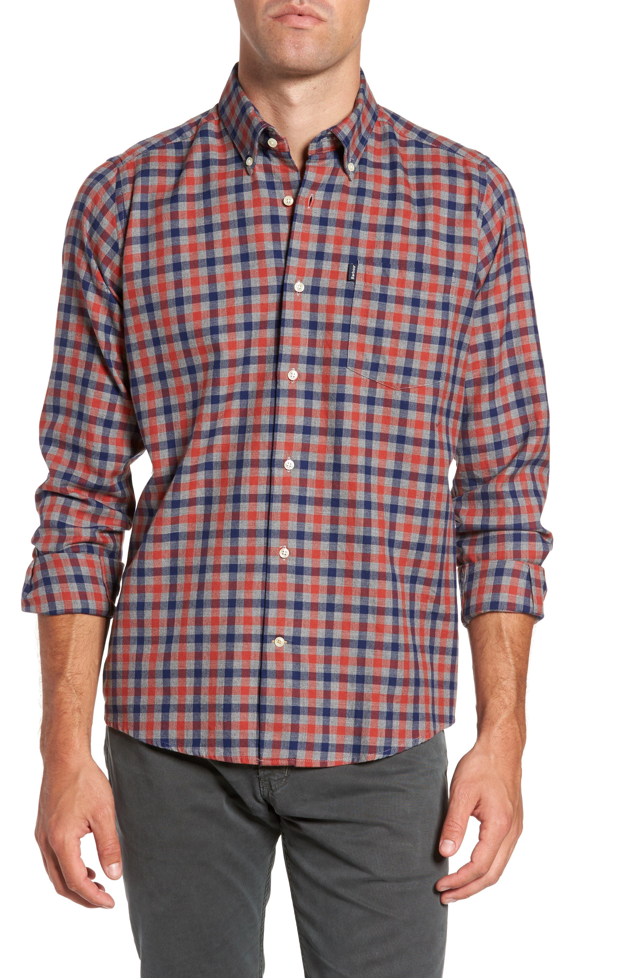 Moss Check Flannel Sport Shirt,                         Main,                         color, Burnt Orange