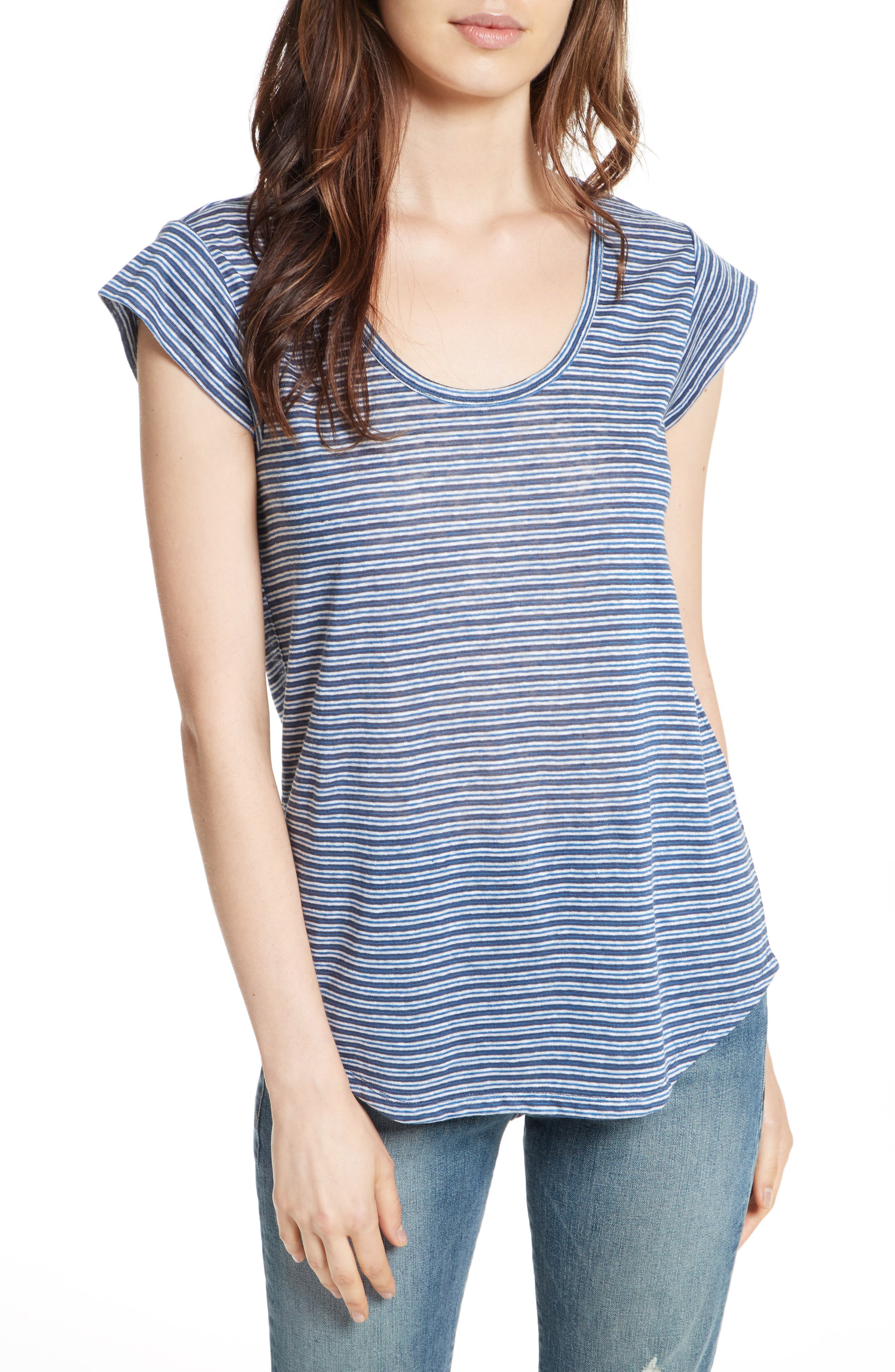 Neyo Stripe Linen Tee,                         Main,                         color, Moroccan Blue