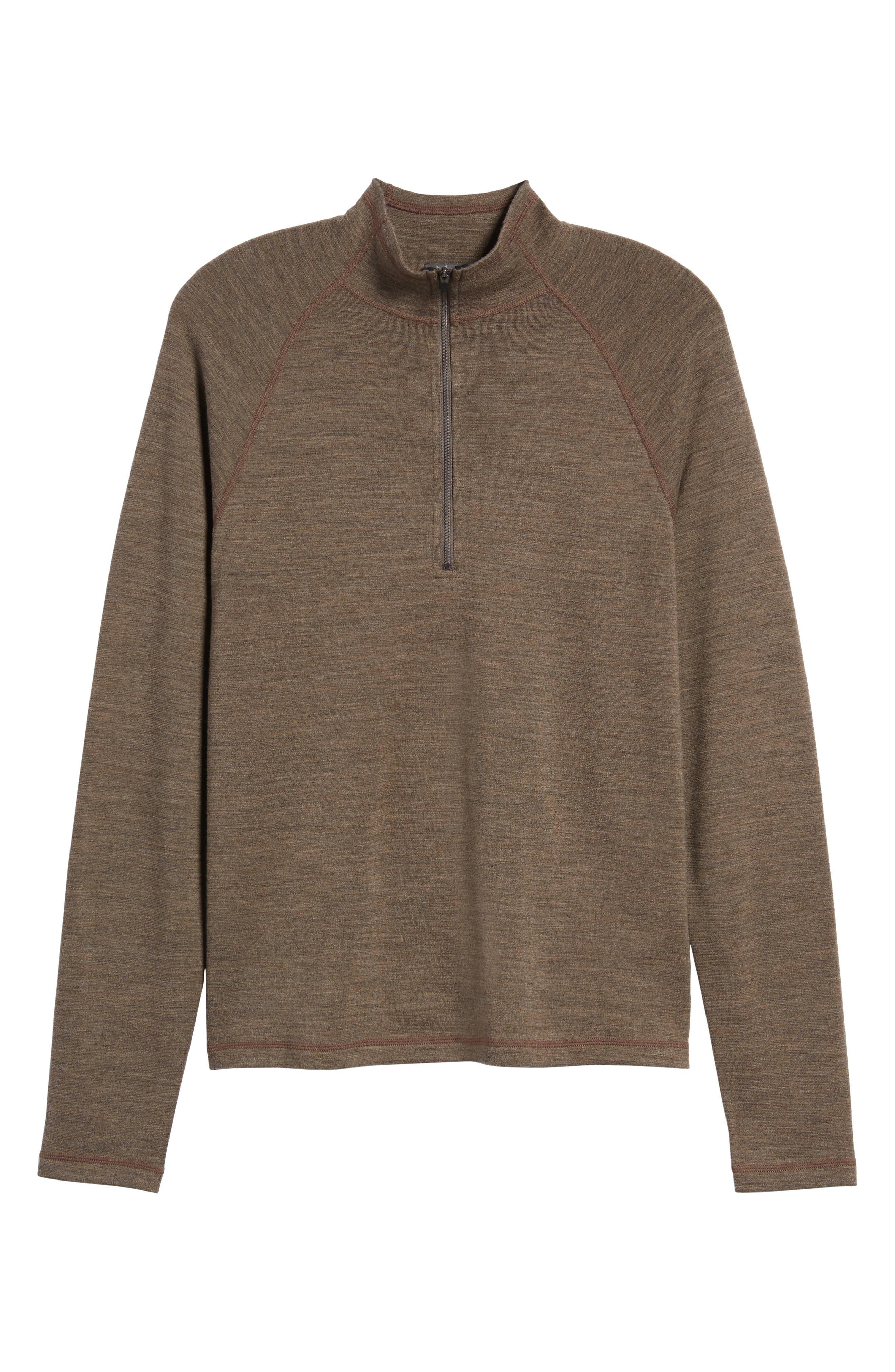 'Shak' Merino Wool Quarter Zip Top,                             Alternate thumbnail 4, color,                             Dark Rye Heather