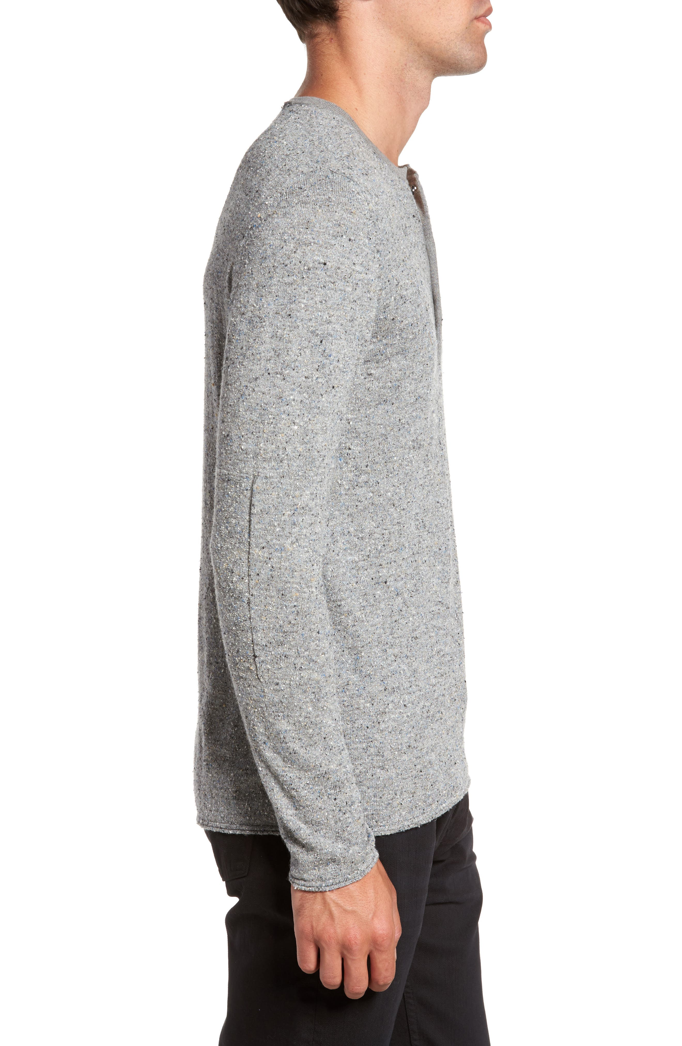 Speckled Henley Sweater,                             Alternate thumbnail 3, color,                             Grey Mix