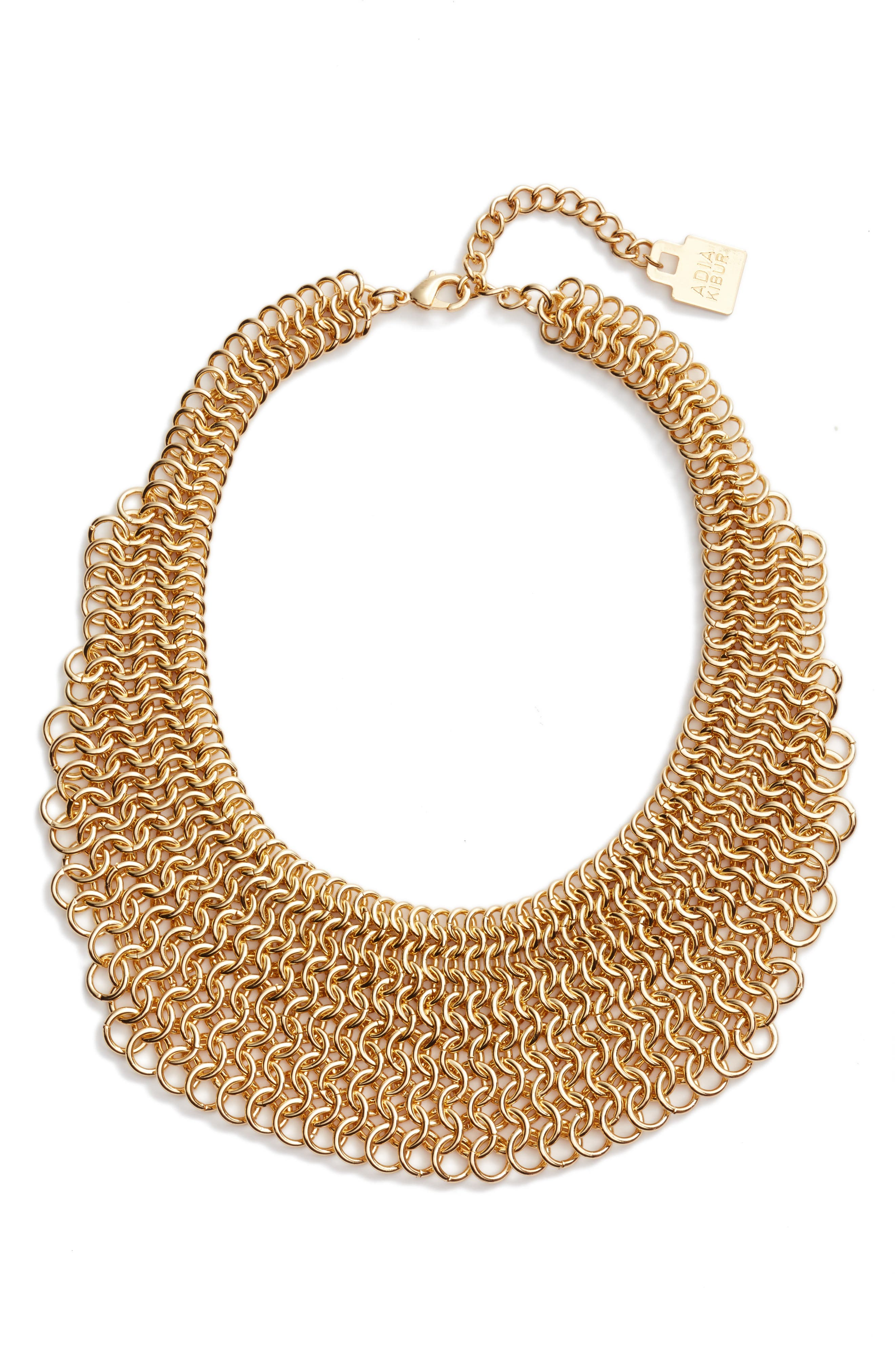 Linked Circle Statement Bib Necklace,                             Main thumbnail 1, color,                             Gold