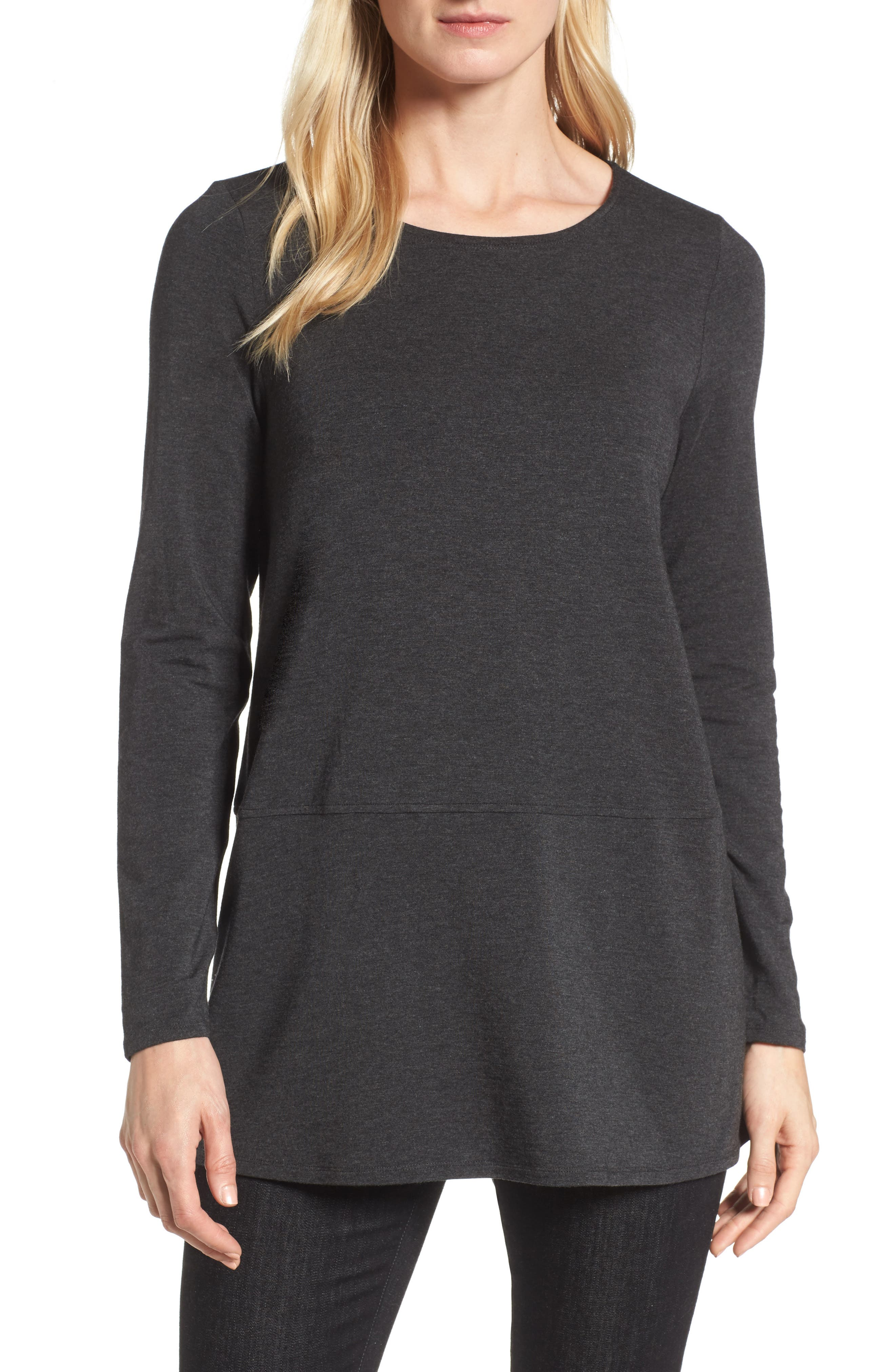 Stretch Tencel<sup>®</sup> Top,                         Main,                         color, Charcoal