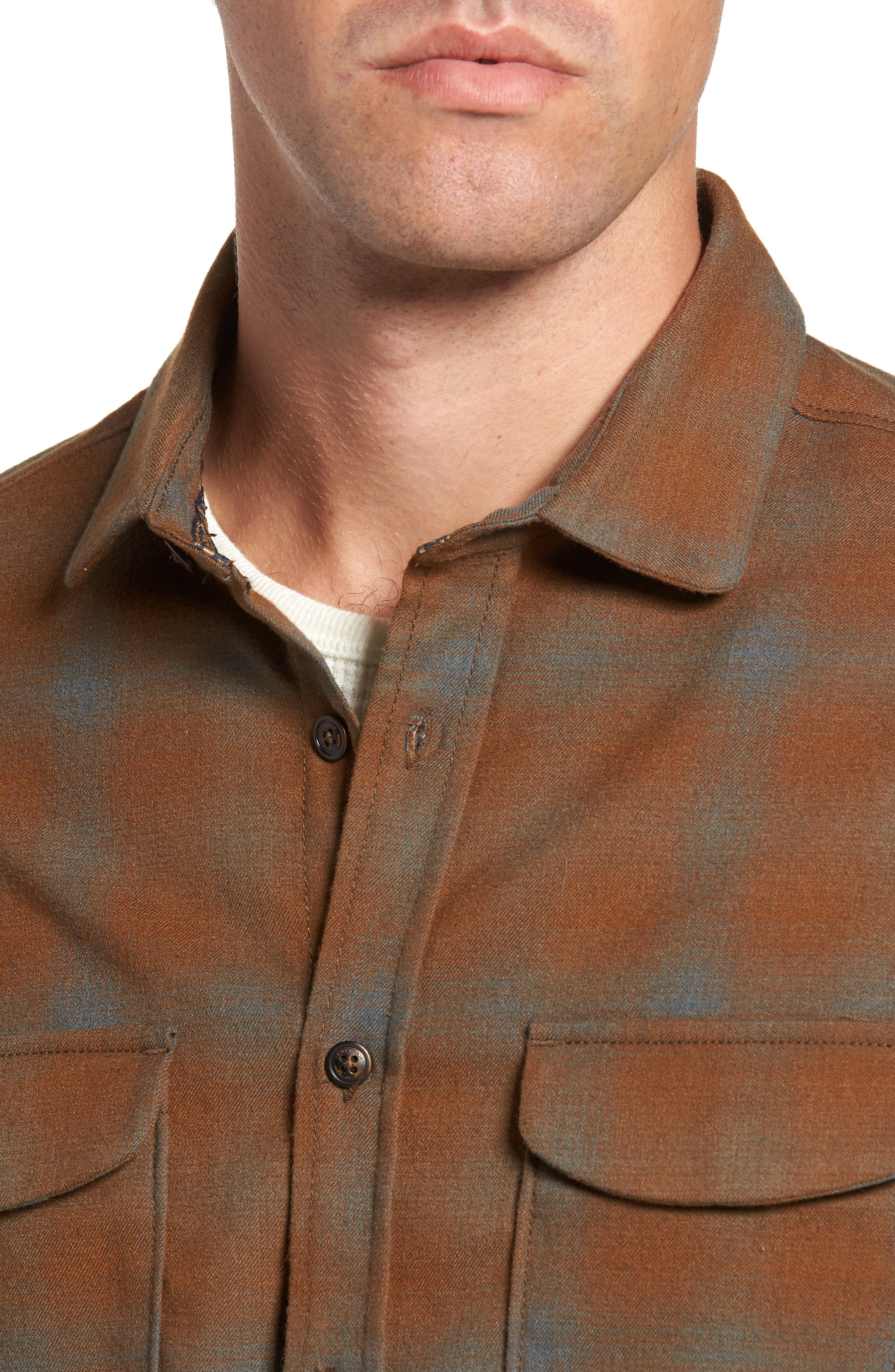Peak Flannel Sport Shirt,                             Alternate thumbnail 4, color,                             Eagle Nest Heather