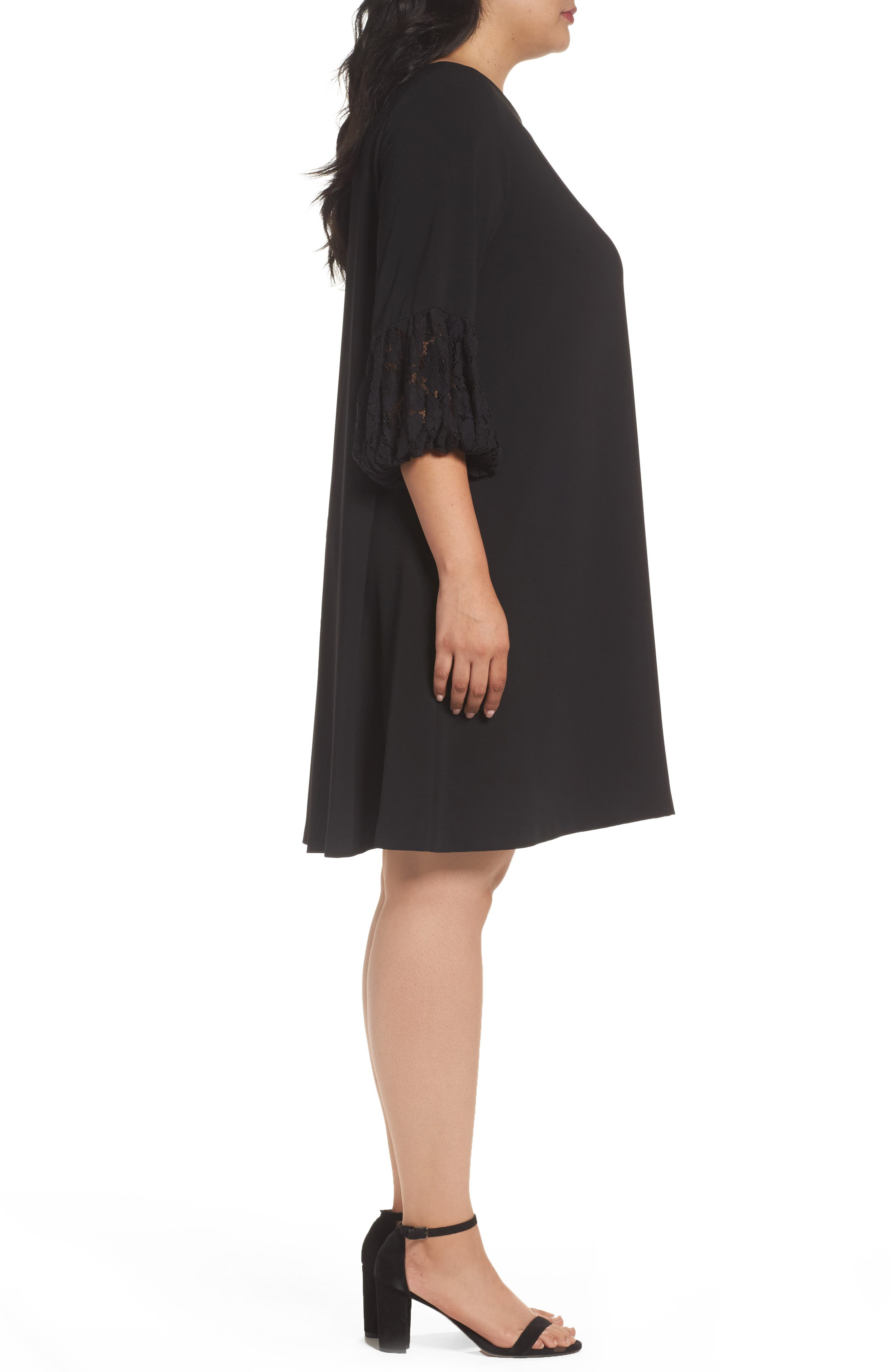 Lace Sleeve Trapeze Dress,                             Alternate thumbnail 3, color,                             Black
