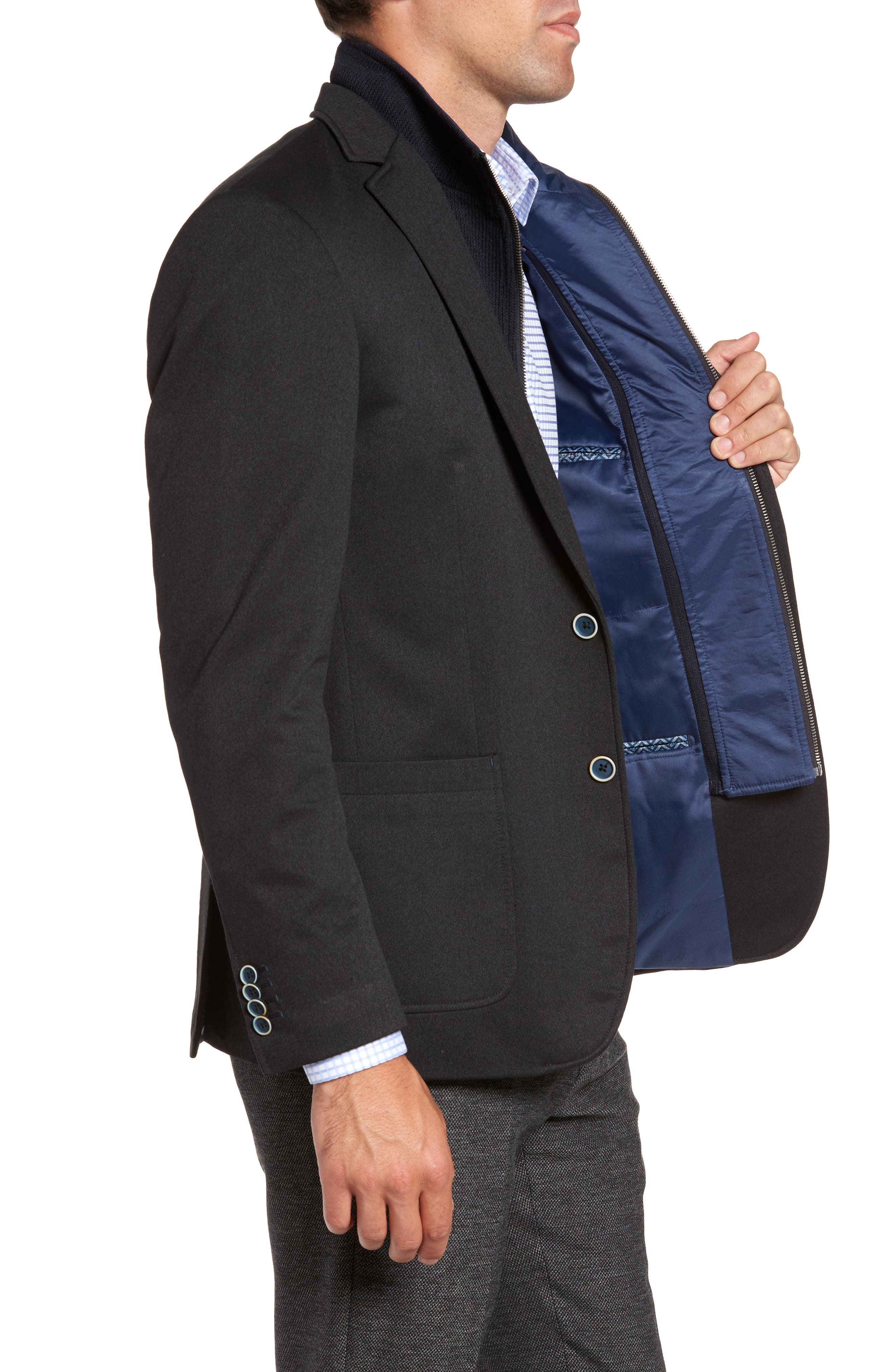 Broderick Technical Outerwear Jacket with Detachable Knit Bib,                             Alternate thumbnail 3, color,                             Navy