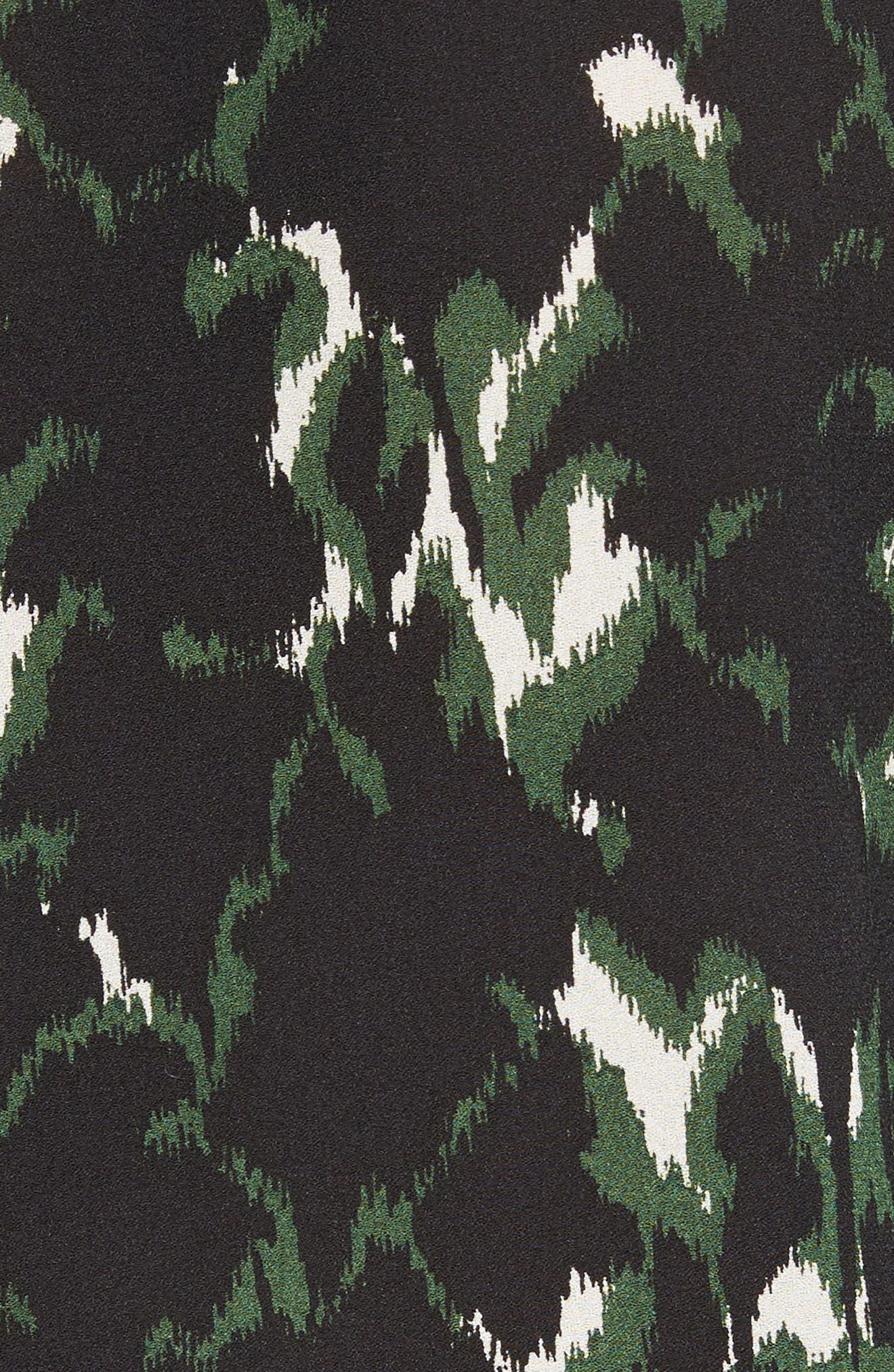 Scott Print Silk Top,                             Alternate thumbnail 5, color,                             Forest/ Eggshell