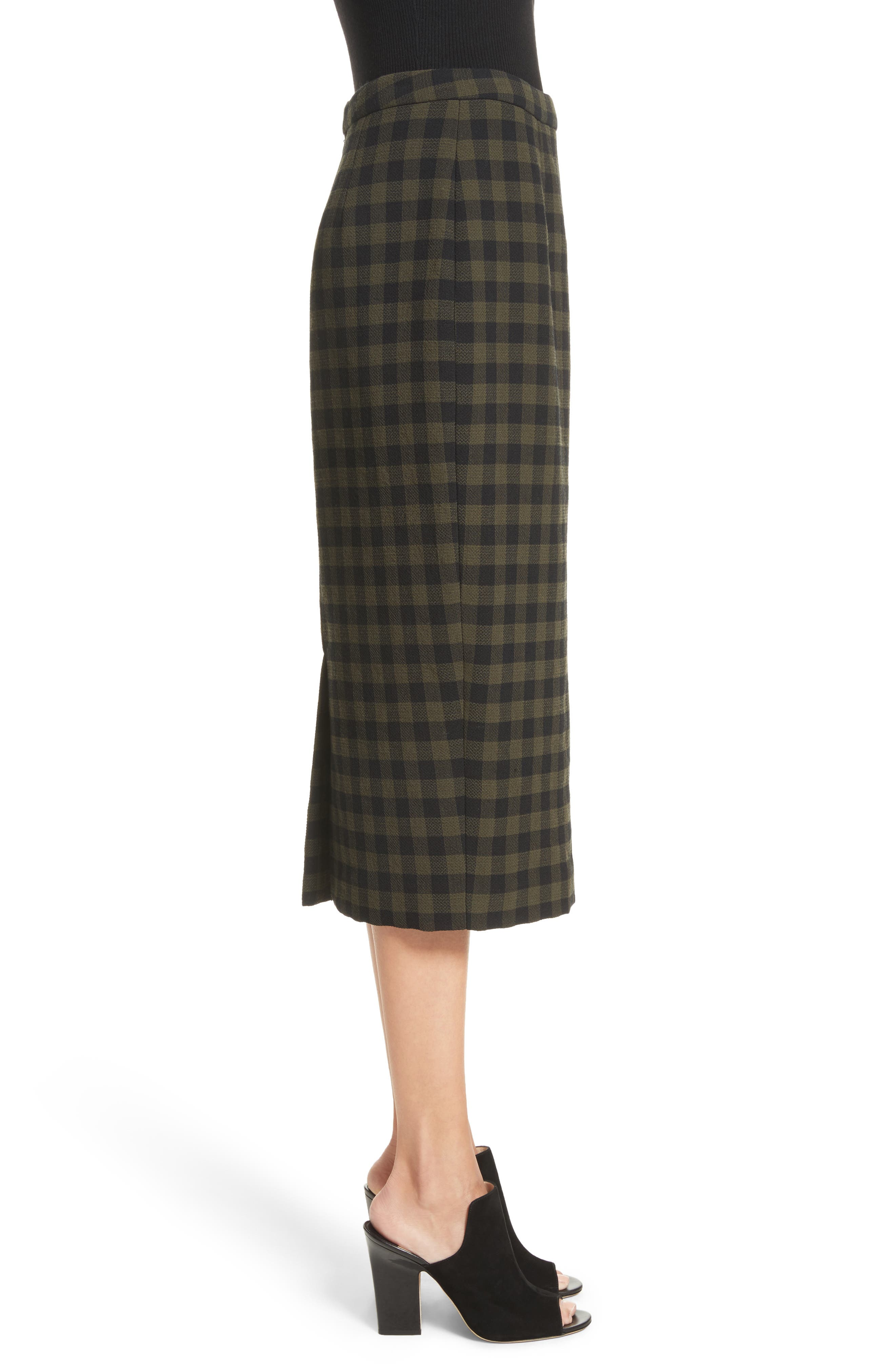 Thea Plaid Wool Pencil Skirt,                             Alternate thumbnail 4, color,                             Army/ Black