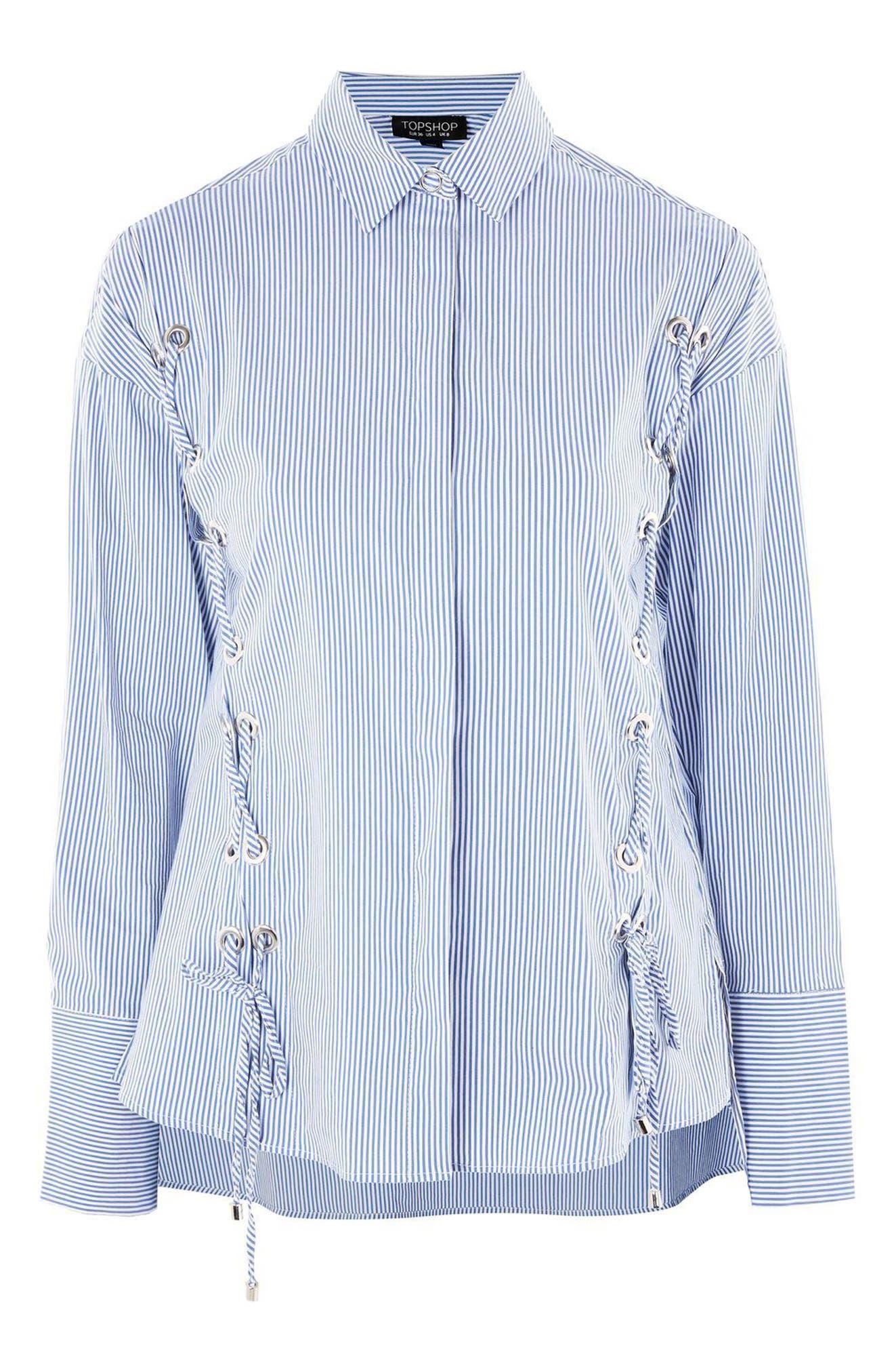 Side Lace-Up Shirt,                             Alternate thumbnail 4, color,                             Blue Multi
