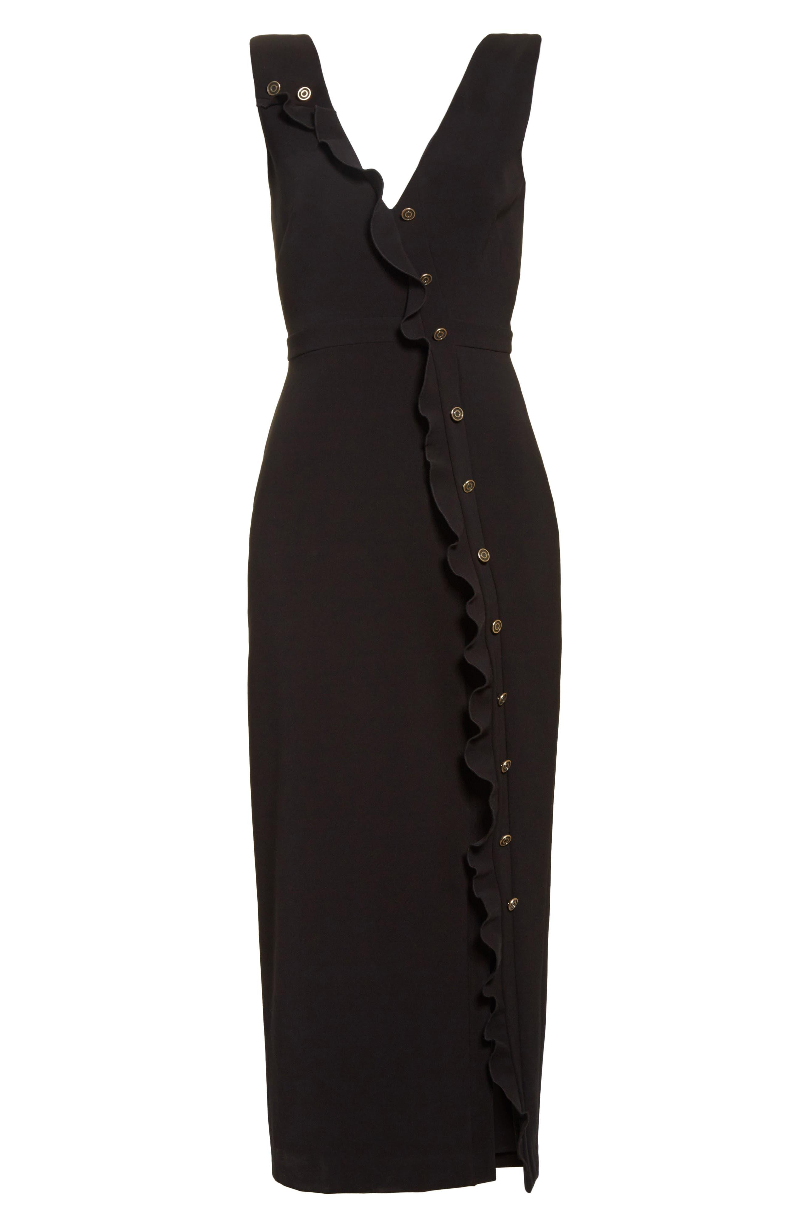 Ruffle Button Midi Dress,                             Alternate thumbnail 6, color,                             Black