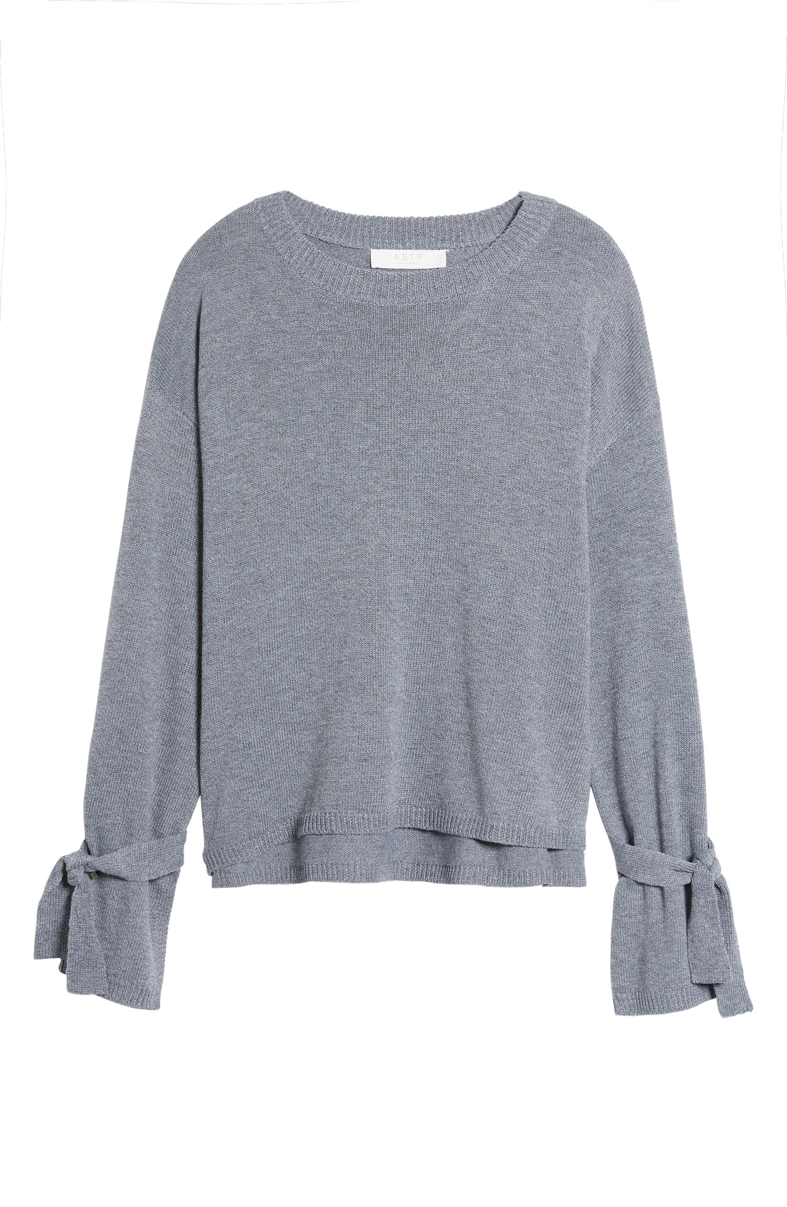 Tie Sleeve Sweater,                             Alternate thumbnail 6, color,                             Heather Grey