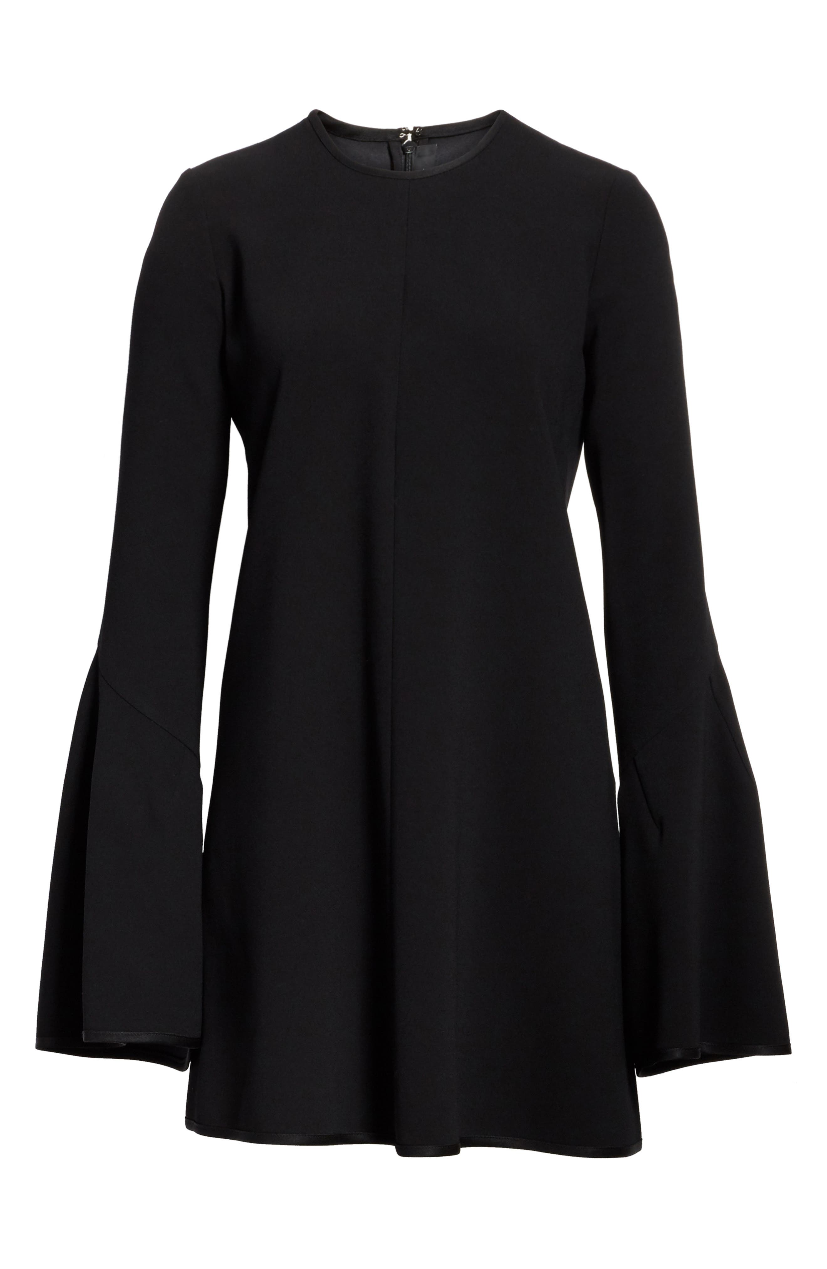 Preacher Flare Sleeve Minidress,                             Alternate thumbnail 4, color,                             Black
