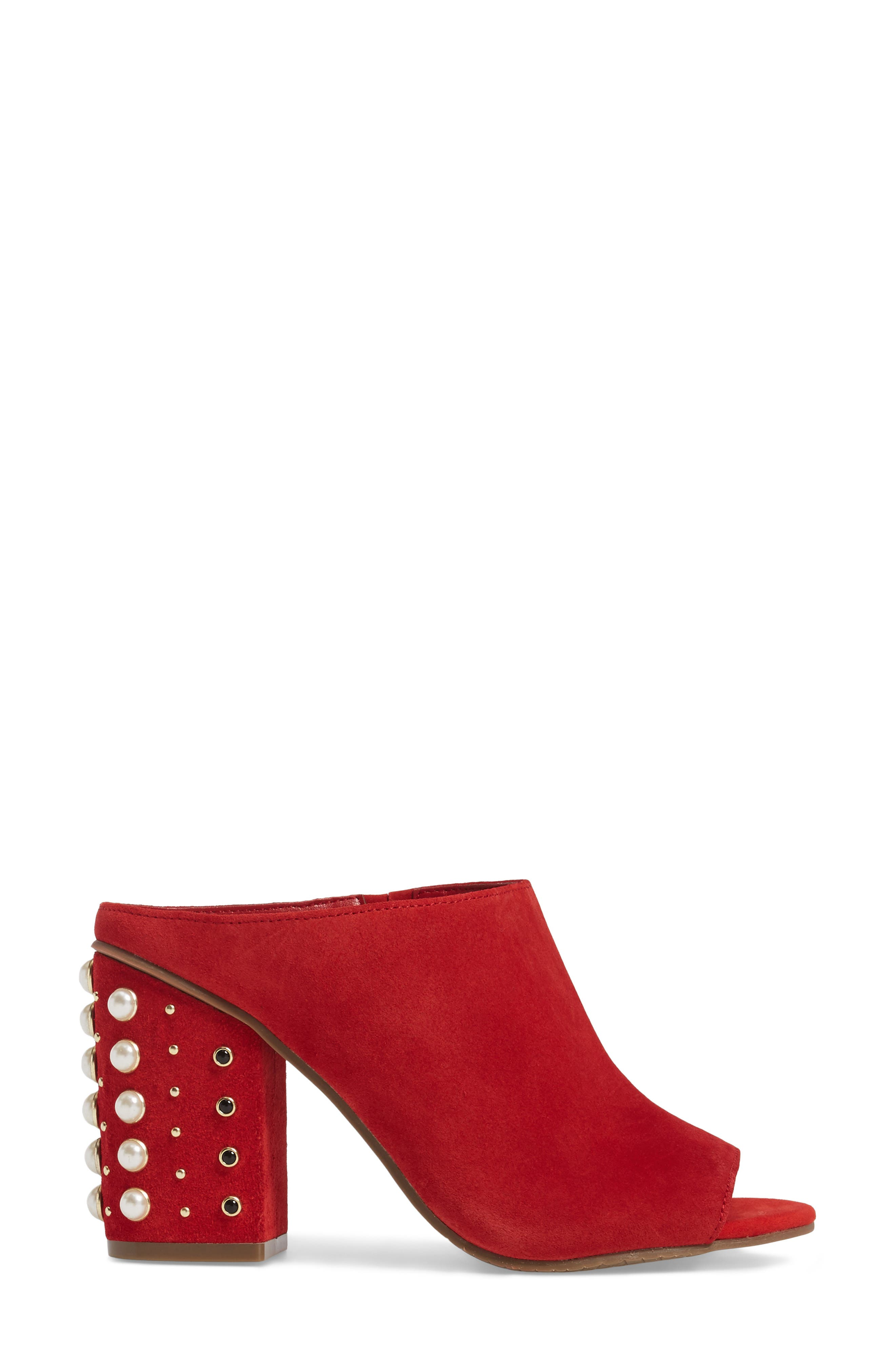 Tabitha Embellished Open Toe Mule,                             Alternate thumbnail 3, color,                             Red Suede