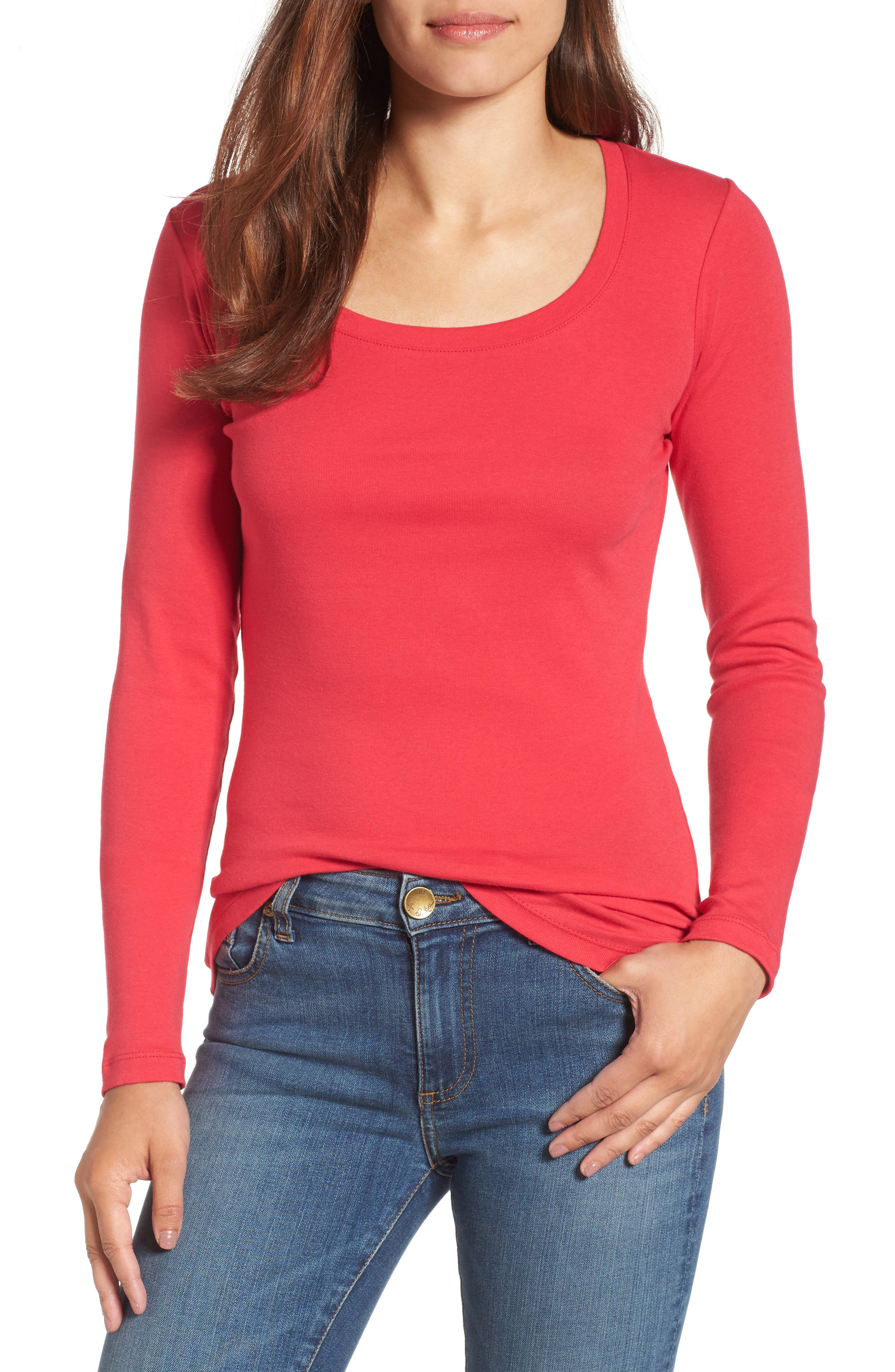 'Melody' Long Sleeve Scoop Neck Tee,                             Main thumbnail 1, color,                             Red Barberry