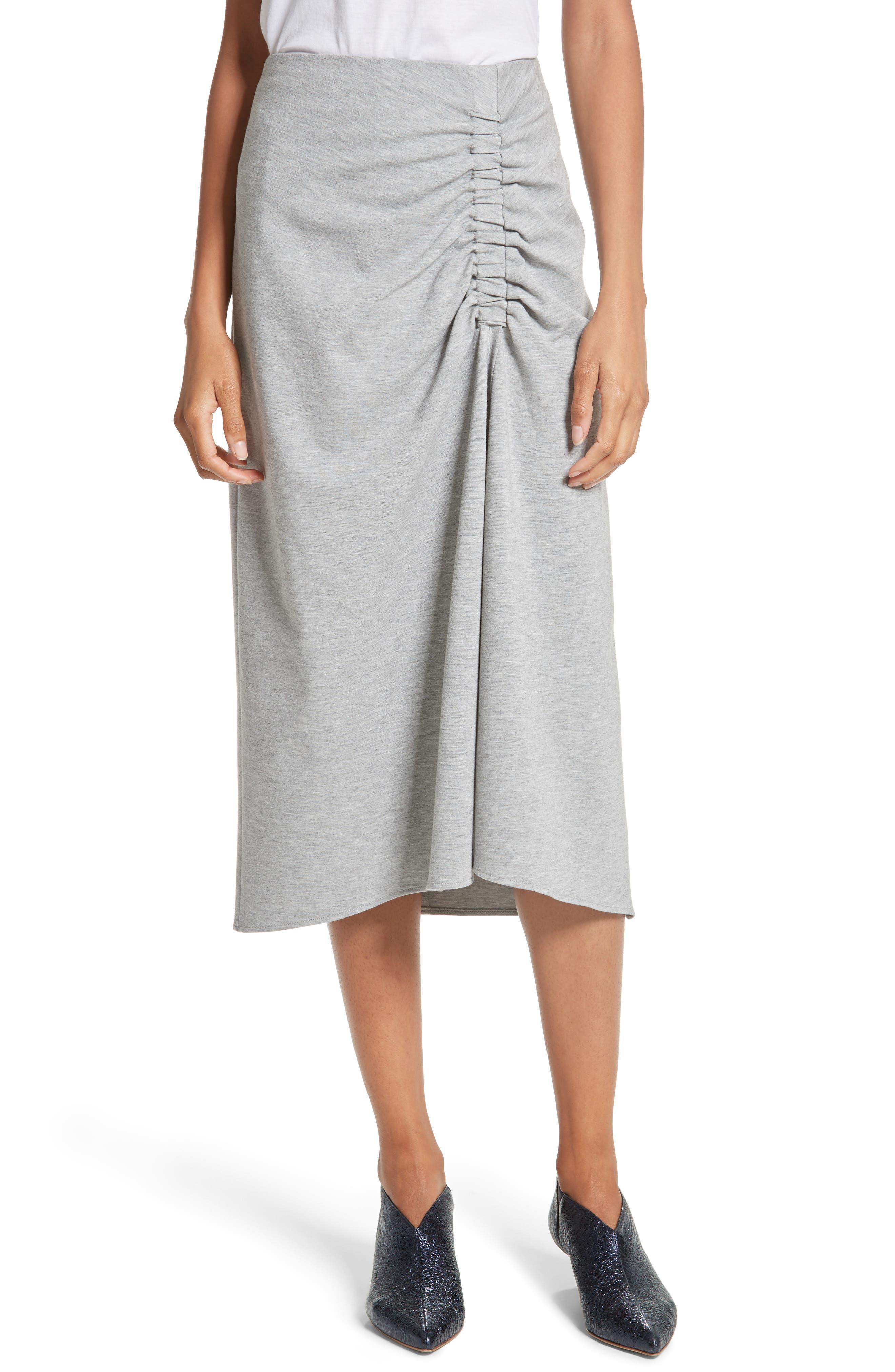 Ruched Midi Skirt,                             Main thumbnail 1, color,                             Heather Grey
